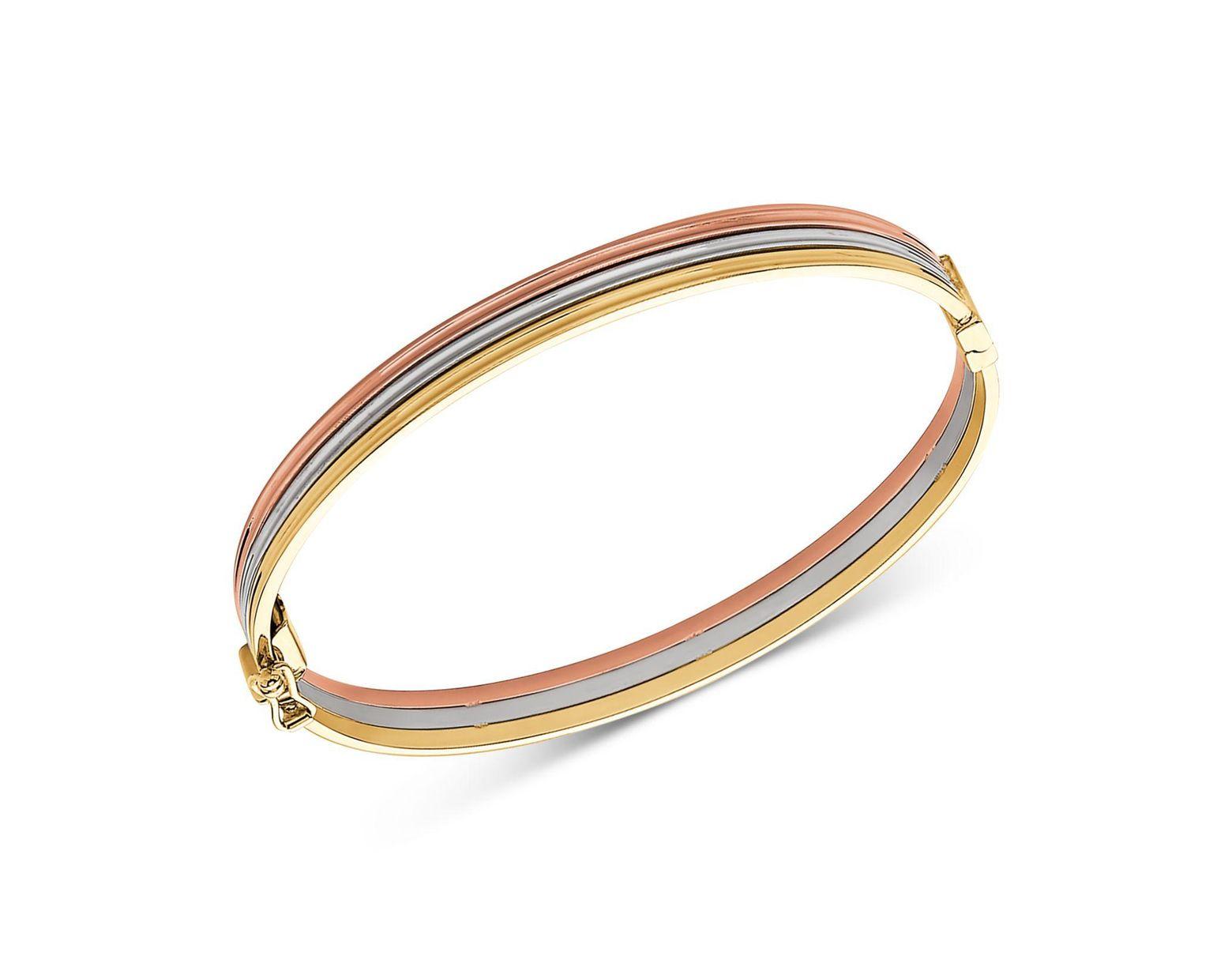 fe49c83af3c8f Women's Metallic Tricolor Stacked Bangle Bracelet In 14k Gold, White Gold &  Rose Gold