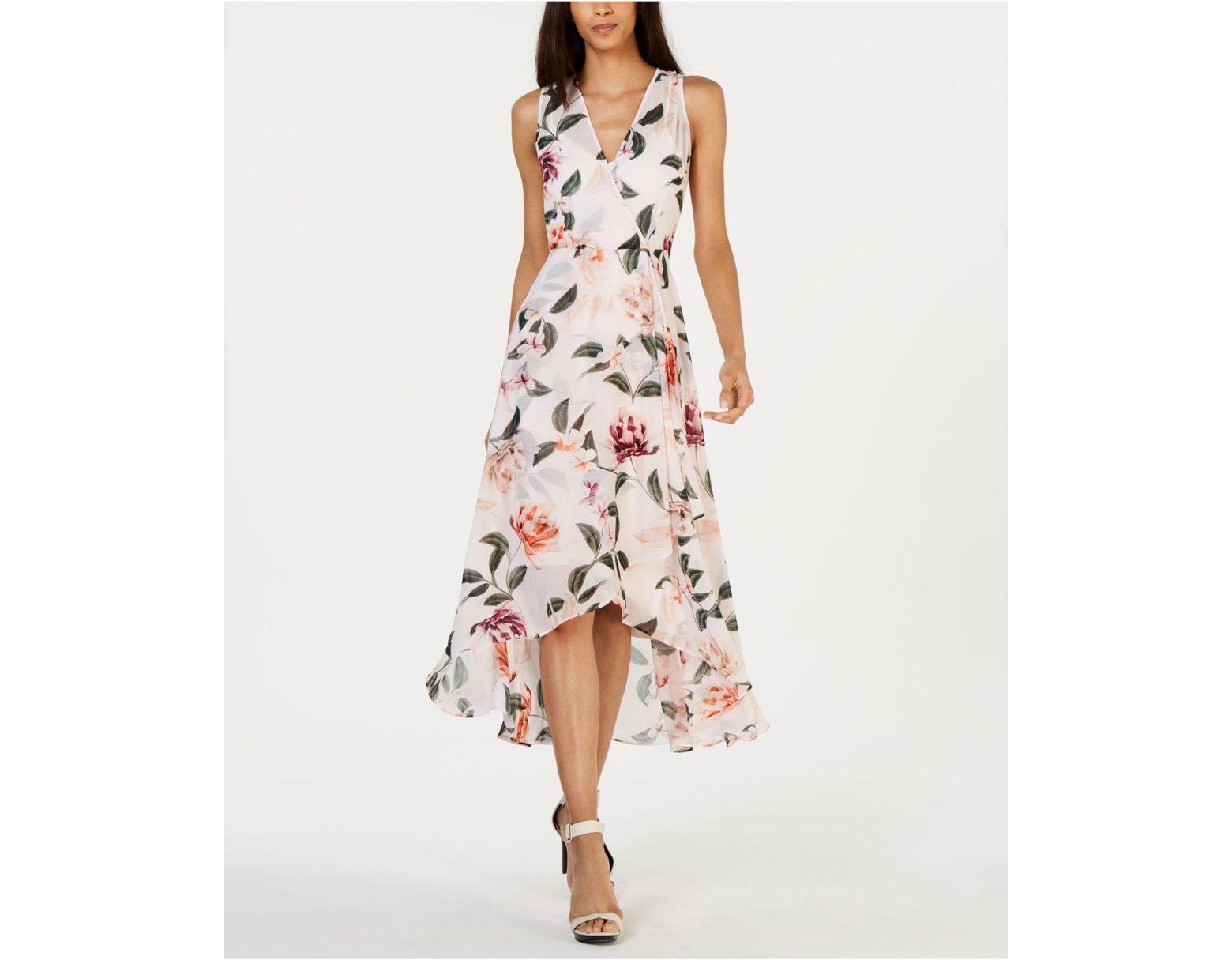 5a885a80af00d Women's Pink Floral-print High-low Wrap Maxi Dress