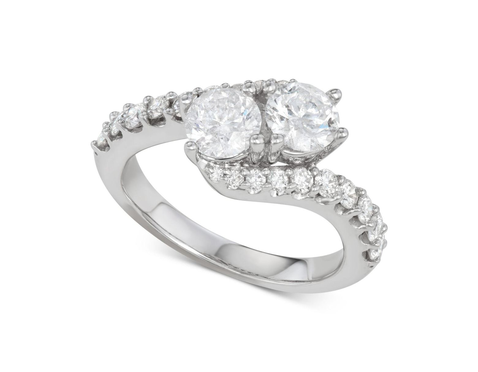 6440373ad Macy's Diamond Two-stone Twist Engagement Ring (2 Ct. T.w.) In 14k White  Gold in Metallic - Lyst