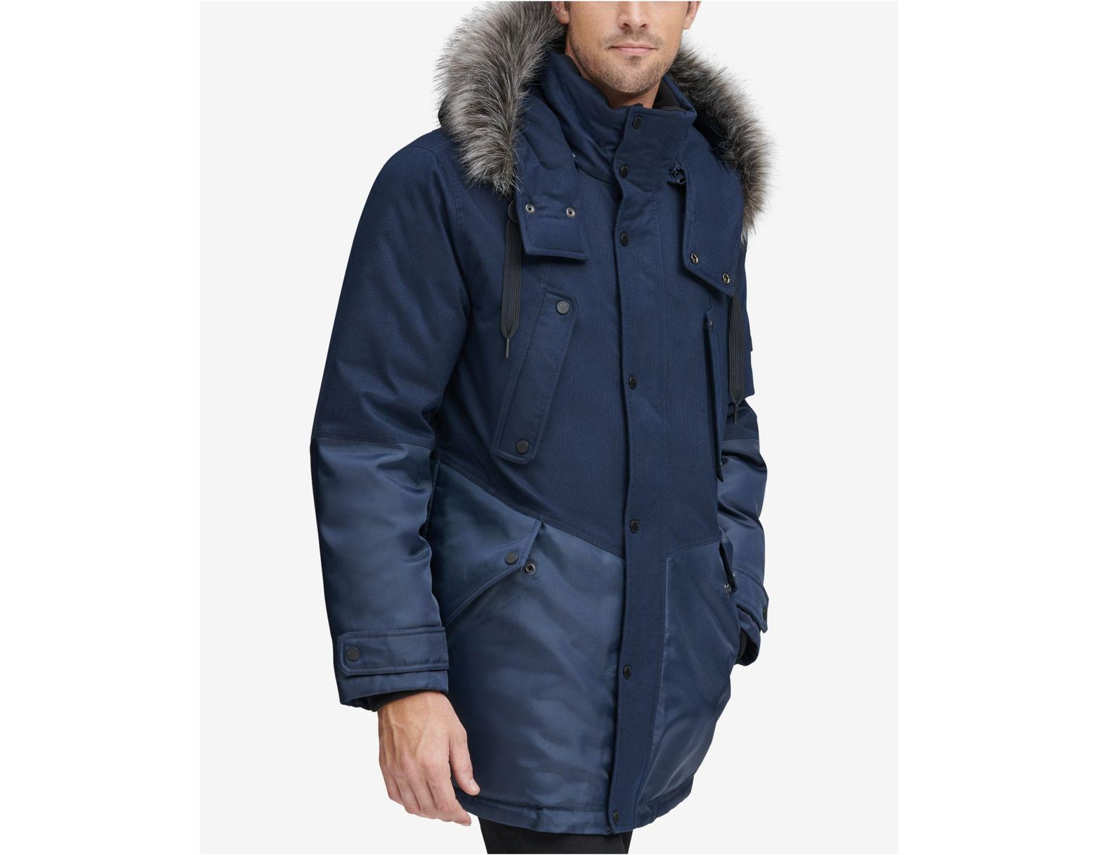 914b551b83 Marc New York Mixed-media Parka With Removable Hood in Blue for Men - Lyst