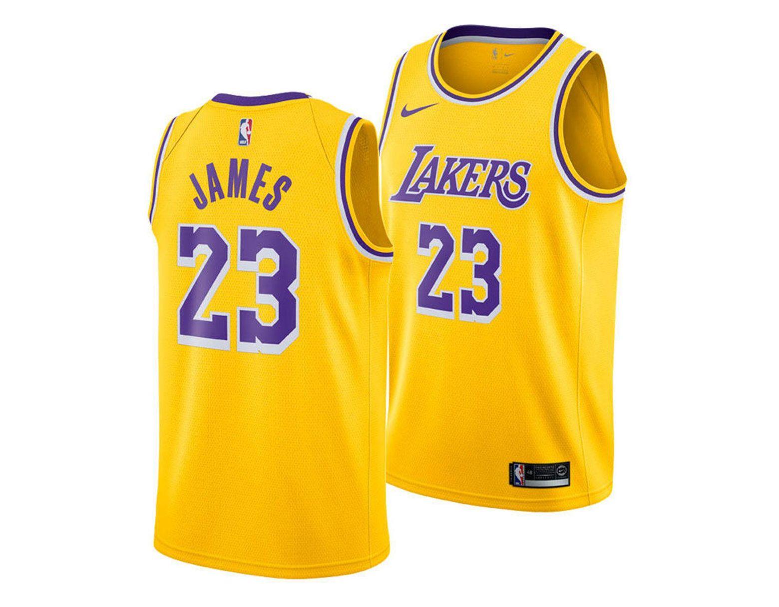 the best attitude 437fa 84273 Men's Yellow Lebron James Los Angeles Lakers Icon Swingman Jersey