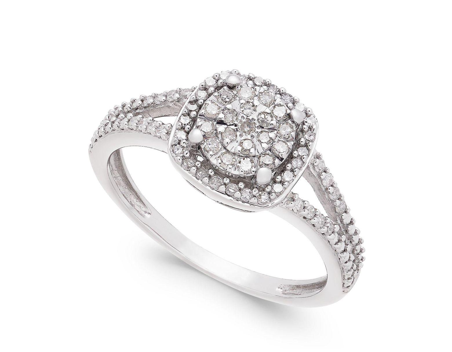 d21c5c4fd38ed Women's Metallic Cushion-cut Diamond Promise Ring (1/4 Ct. T.w.) In  Sterling Silver