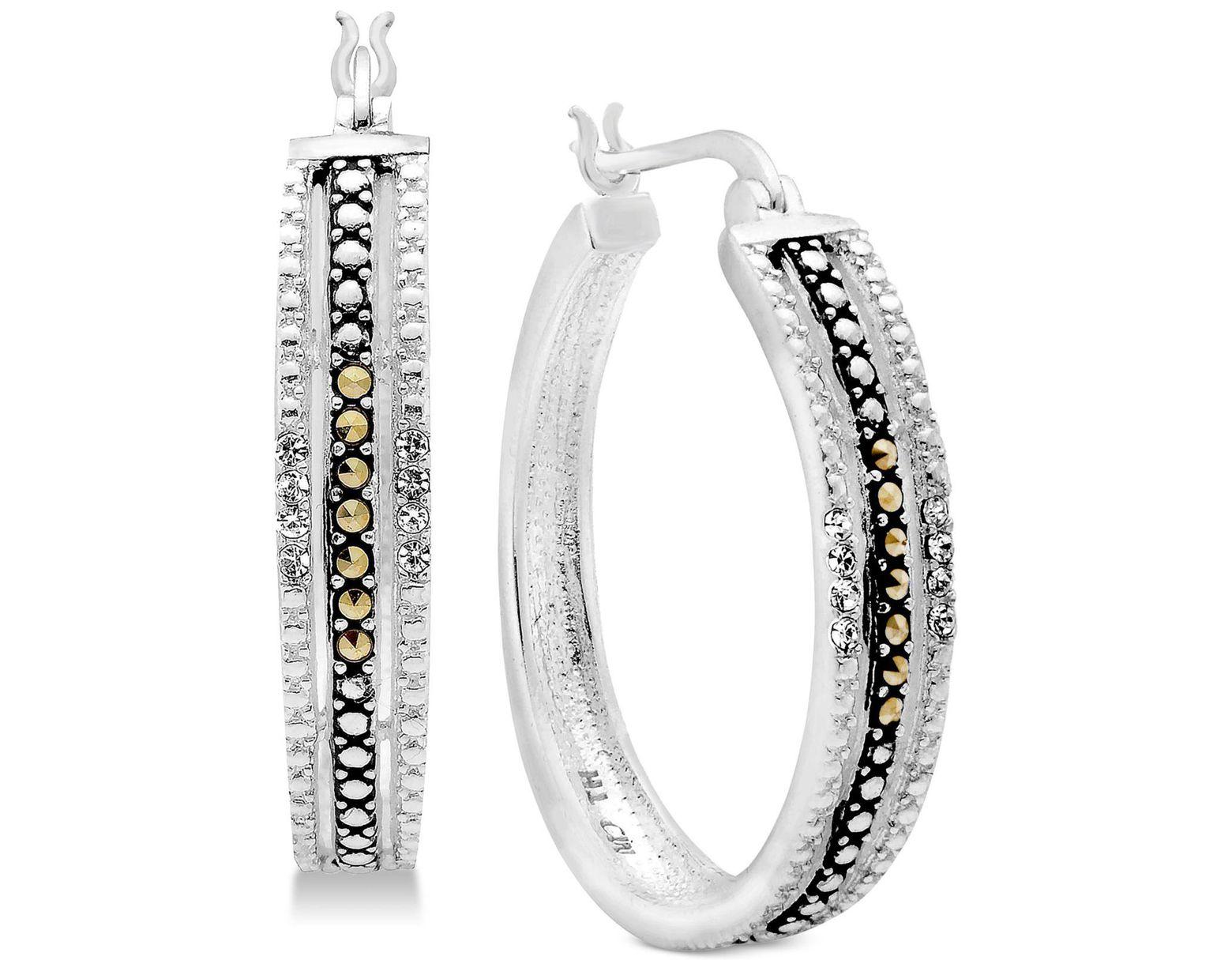 ad6dee394b9b8 Women's Metallic Marcasite & Crystal Patterned Hoop Earrings In Fine  Silver-plate
