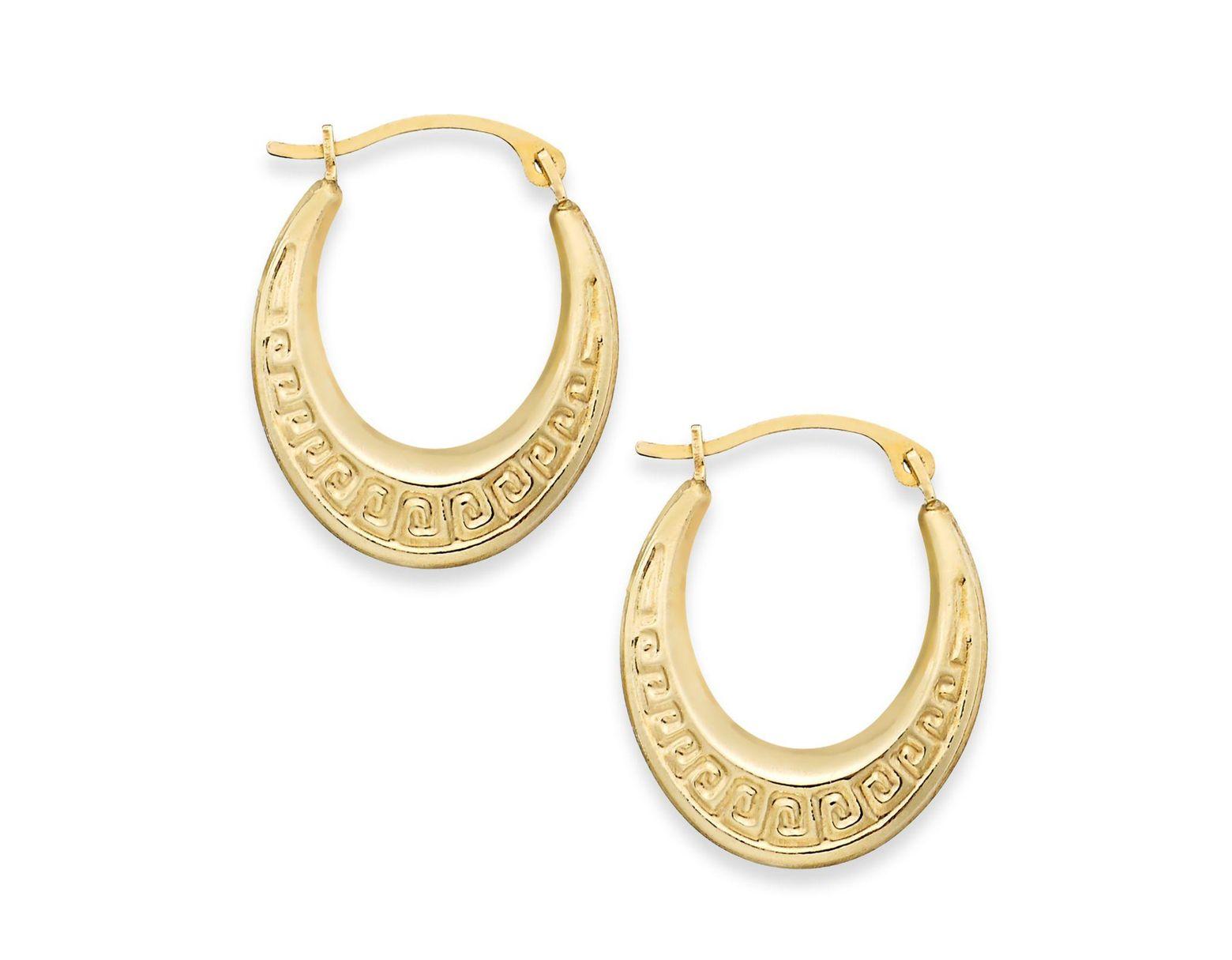 7211e970f1067 Women's Metallic 10k Gold Earrings, Greek Key Hoop Earrings