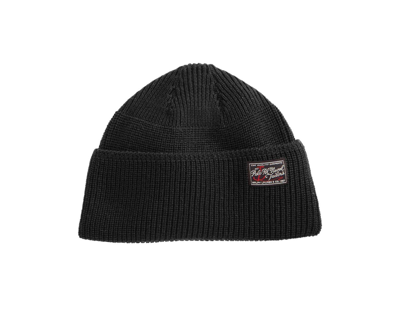 1507c26a5 Men's Black Wool Naval Watch Hat