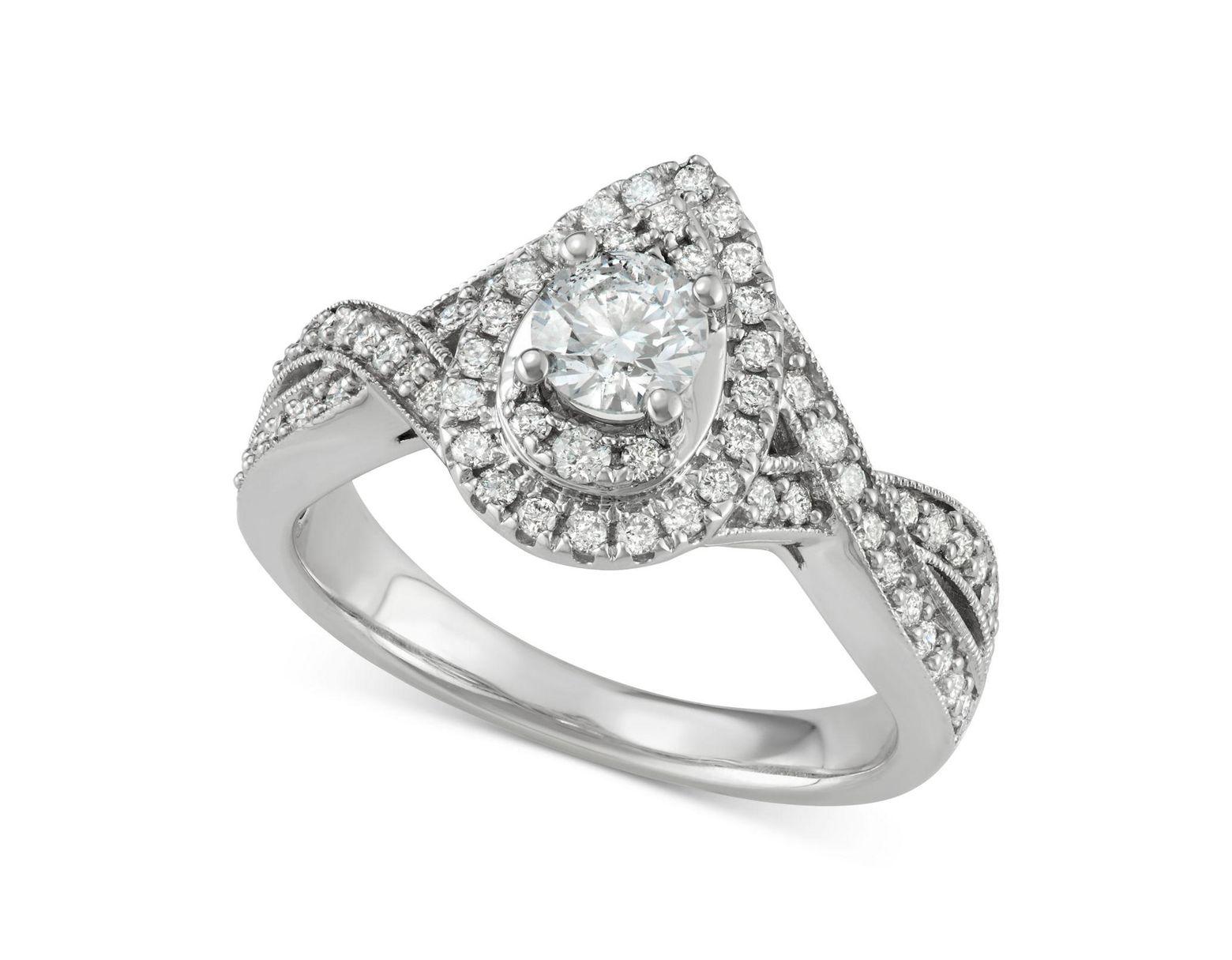 a3062597d Macy's Diamond Teardrop Engagement Ring (1 Ct. T.w.) In 14k White Gold in  Metallic - Lyst