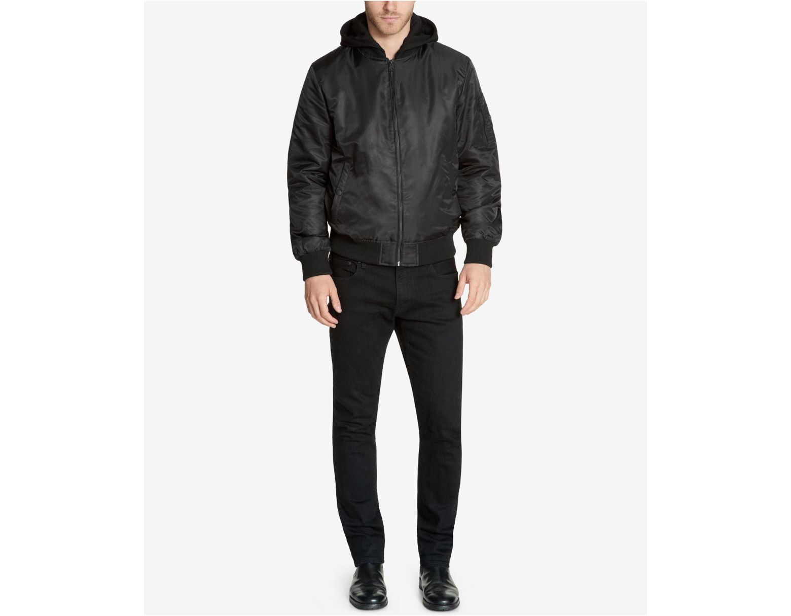 cdd80d69c Black Men's Bomber Jacket With Removable Hooded Inset