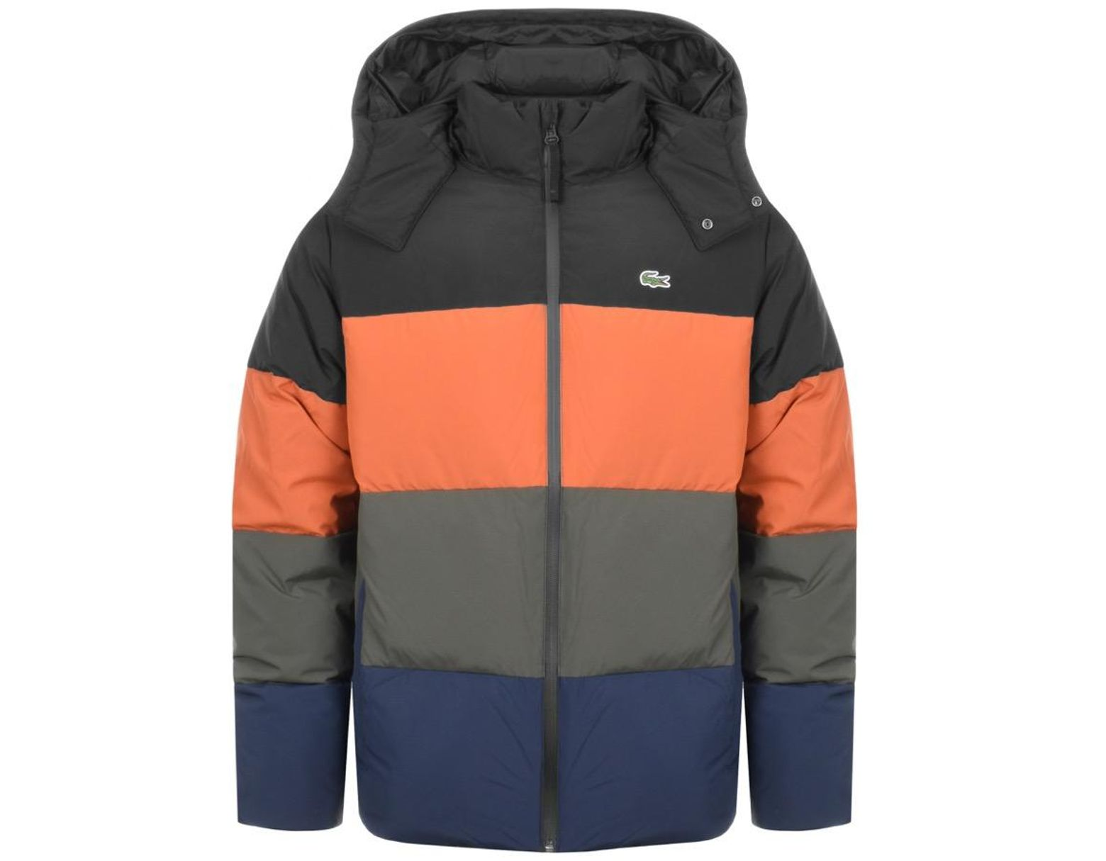 8028b80879 Lacoste Full Zip Striped Padded Jacket Black in Black for Men - Save 45% -  Lyst