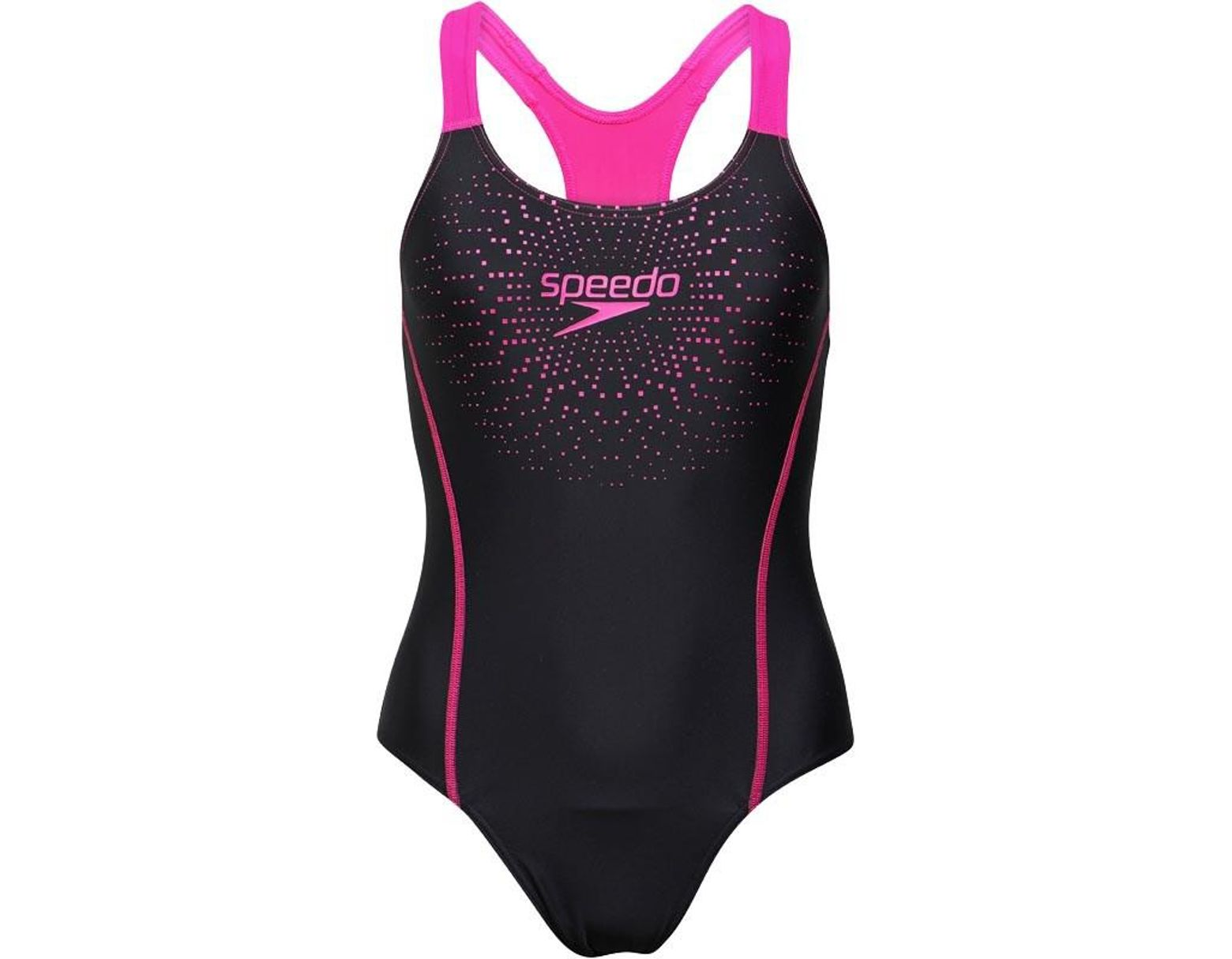 d22036c8fa5 Speedo Gala Logo Medalist One Piece Swimsuit Black/pink in Black - Lyst