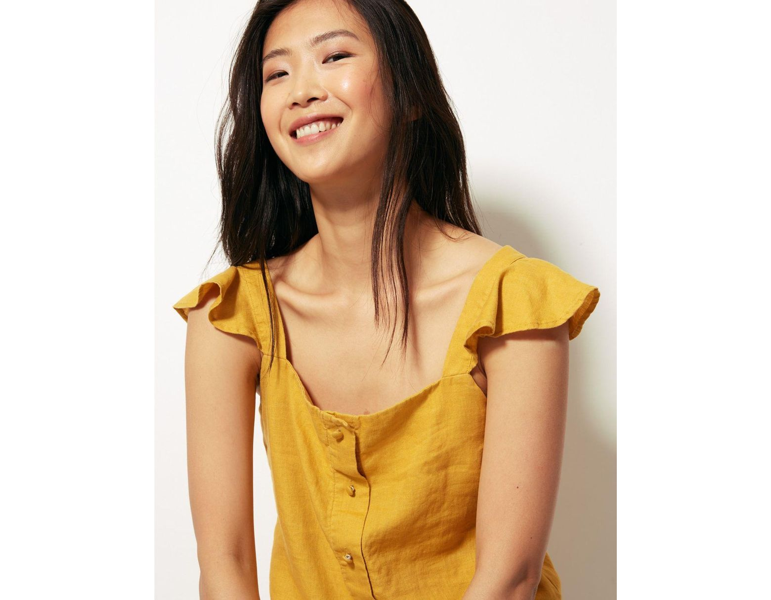 06f0f185df Women's Pure Linen Camisole Top Yellow