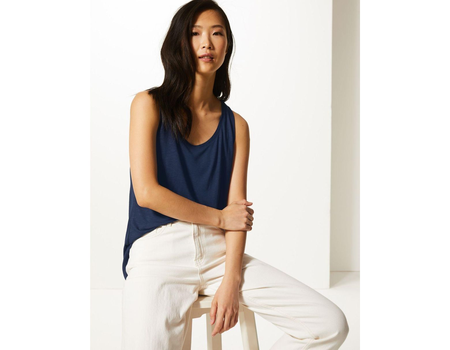 Marks /& Spencer Navy Cut Out Stretchy Top with Tan Undervest