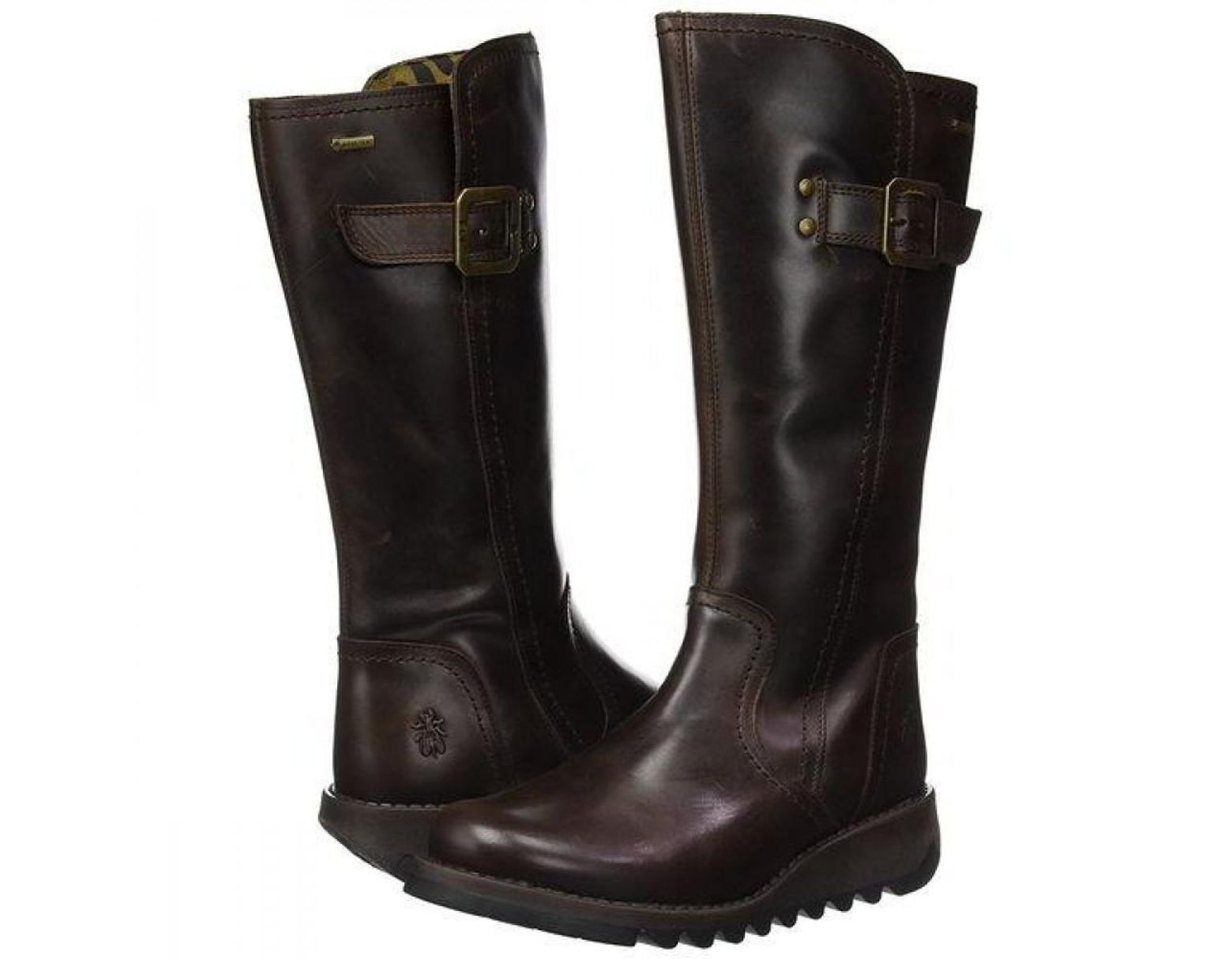 5d149eb74b14c Fly London Leather Shap Gtx Waterproof Wedge Boots in Brown - Save ...