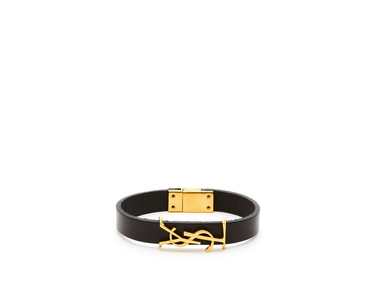 Saint Laurent Ysl Monogram Plaque Leather Bracelet in Black for Men , Lyst
