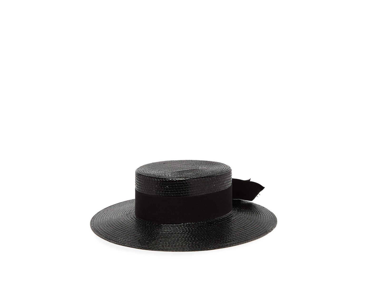 5fa412173f9 Women's Black Grosgrain Trim Straw Boater Hat