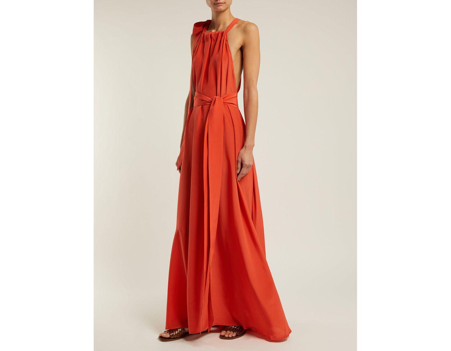 fcefb4ba990 Women's Camille Halterneck Silk Habotai Maxi Dress