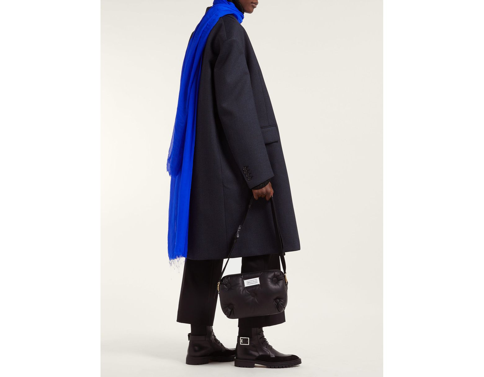 Raf Simons Single Breasted Checked Wool Blend Coat in Blue