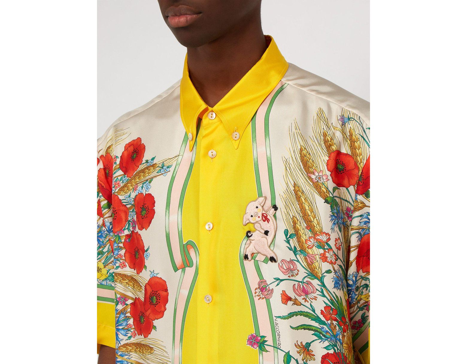 e089a647a Gucci Floral Print Silk Twill Shirt in Yellow for Men - Save 33% - Lyst