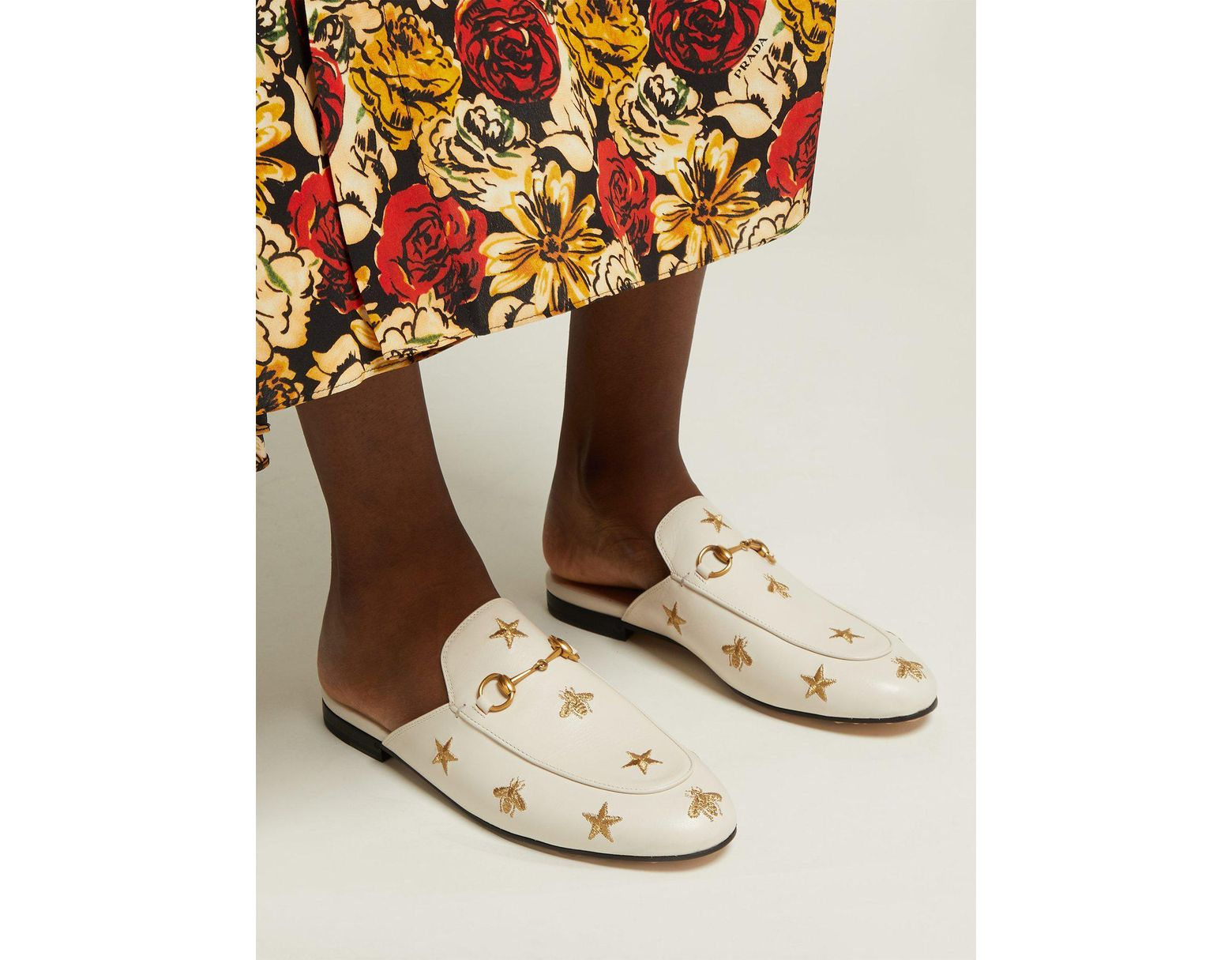 3edb2b91 Gucci Princetown Embroidered Leather Backless Loafers - Lyst