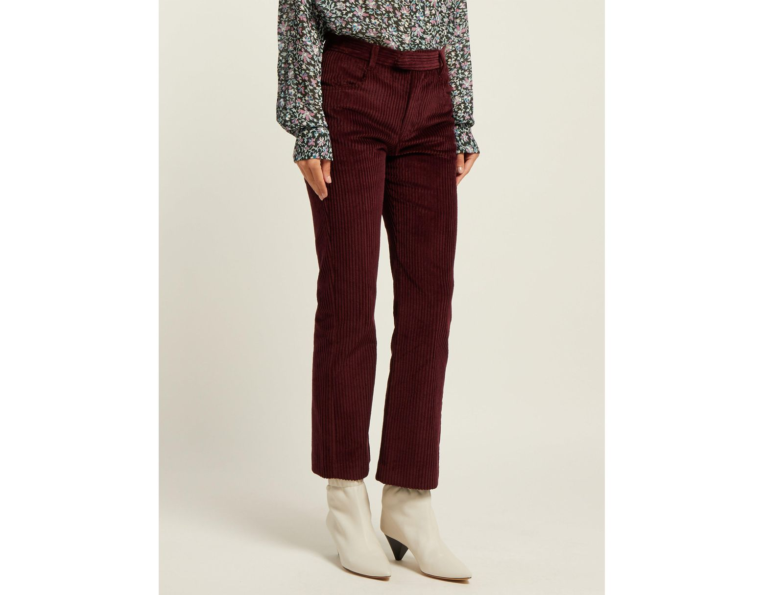 a882d0f63 Pantalon taille haute en velours côtelé Mereo femme de coloris rouge