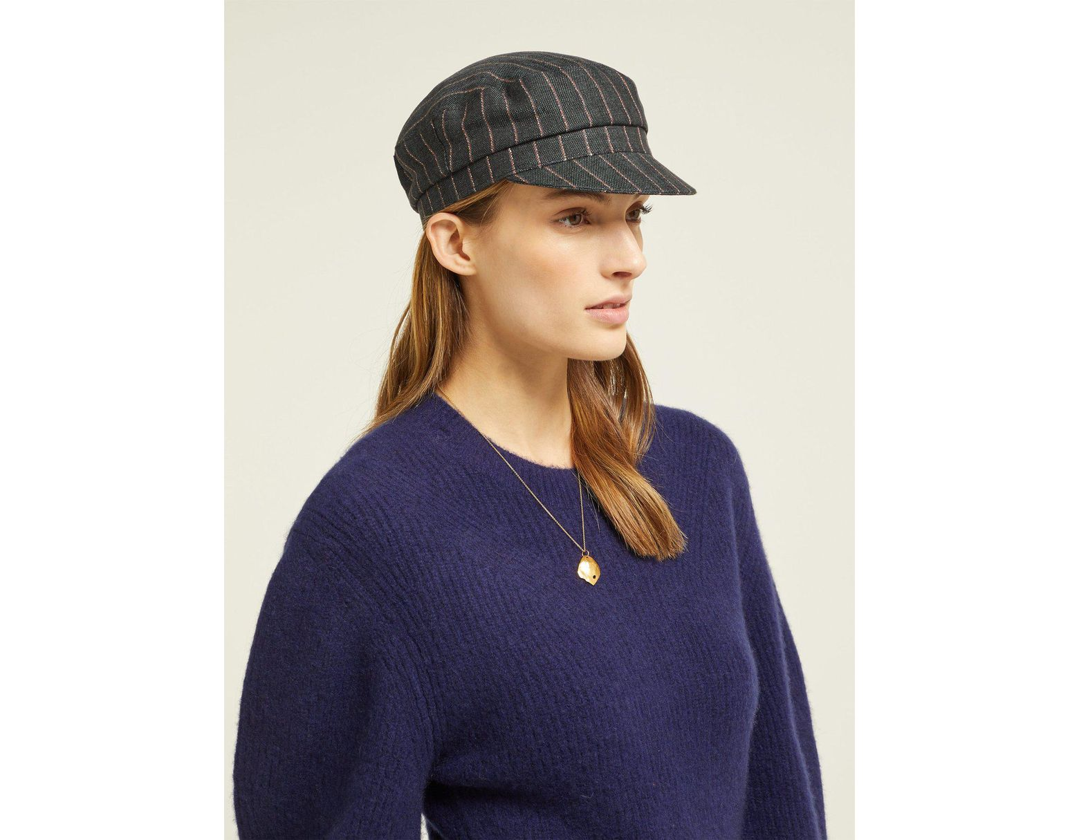 ae57e0dc Isabel Marant Evie Striped Linen Cap in Black - Save 17% - Lyst