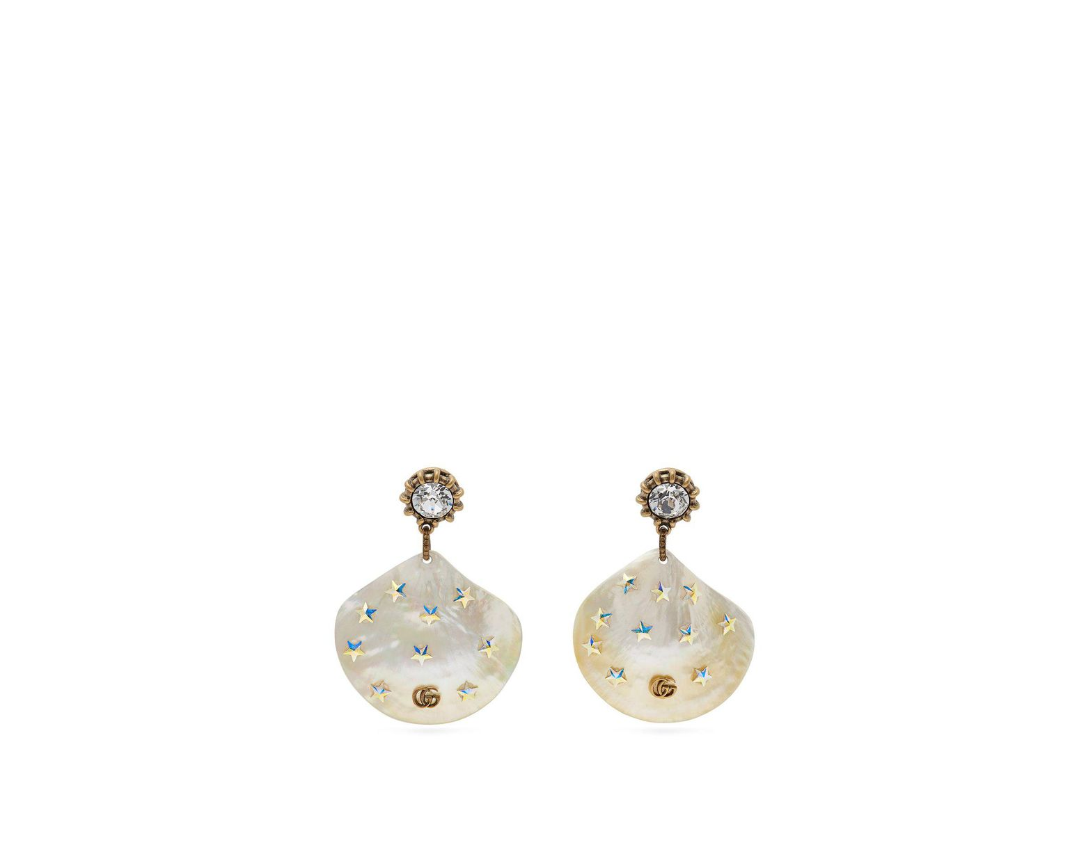 6a6dc2827a2 Lyst - Gucci Gg Mother Of Pearl Drop Earrings