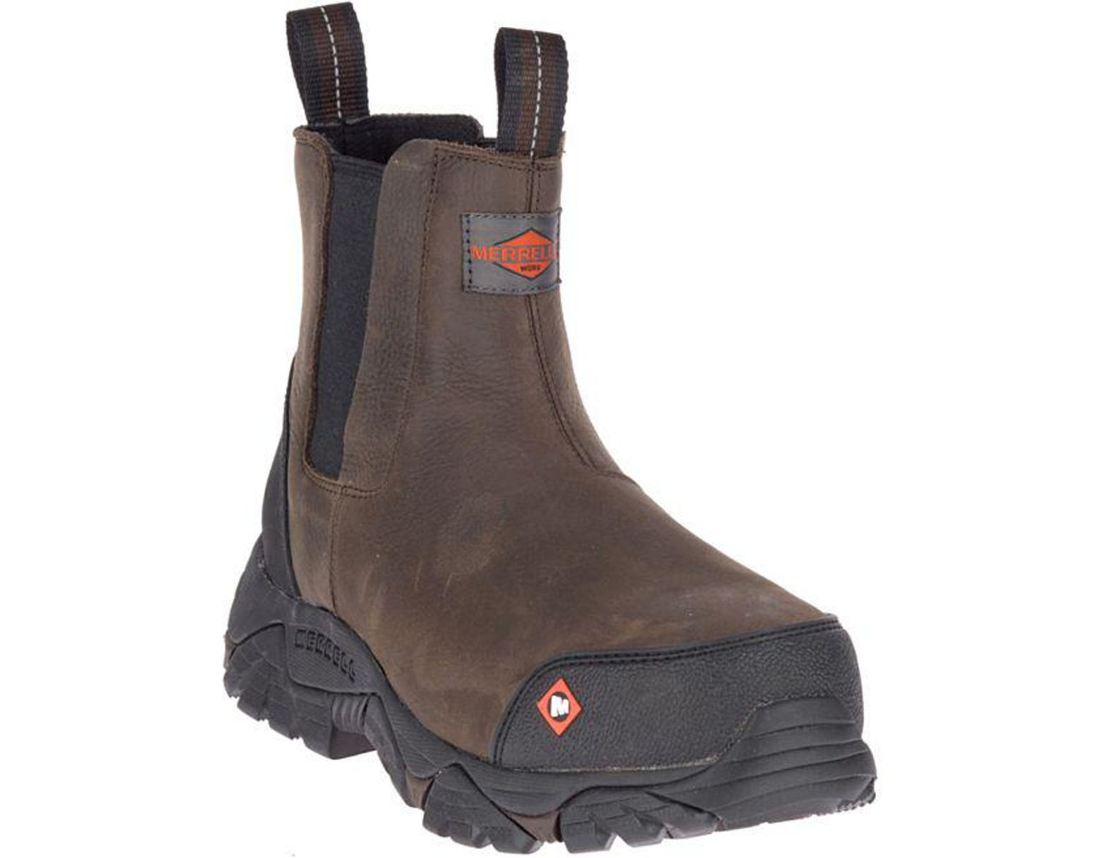 840657cb9b Men's Brown Moab Rover Pull On Comp Toe Work Boot Wide Width
