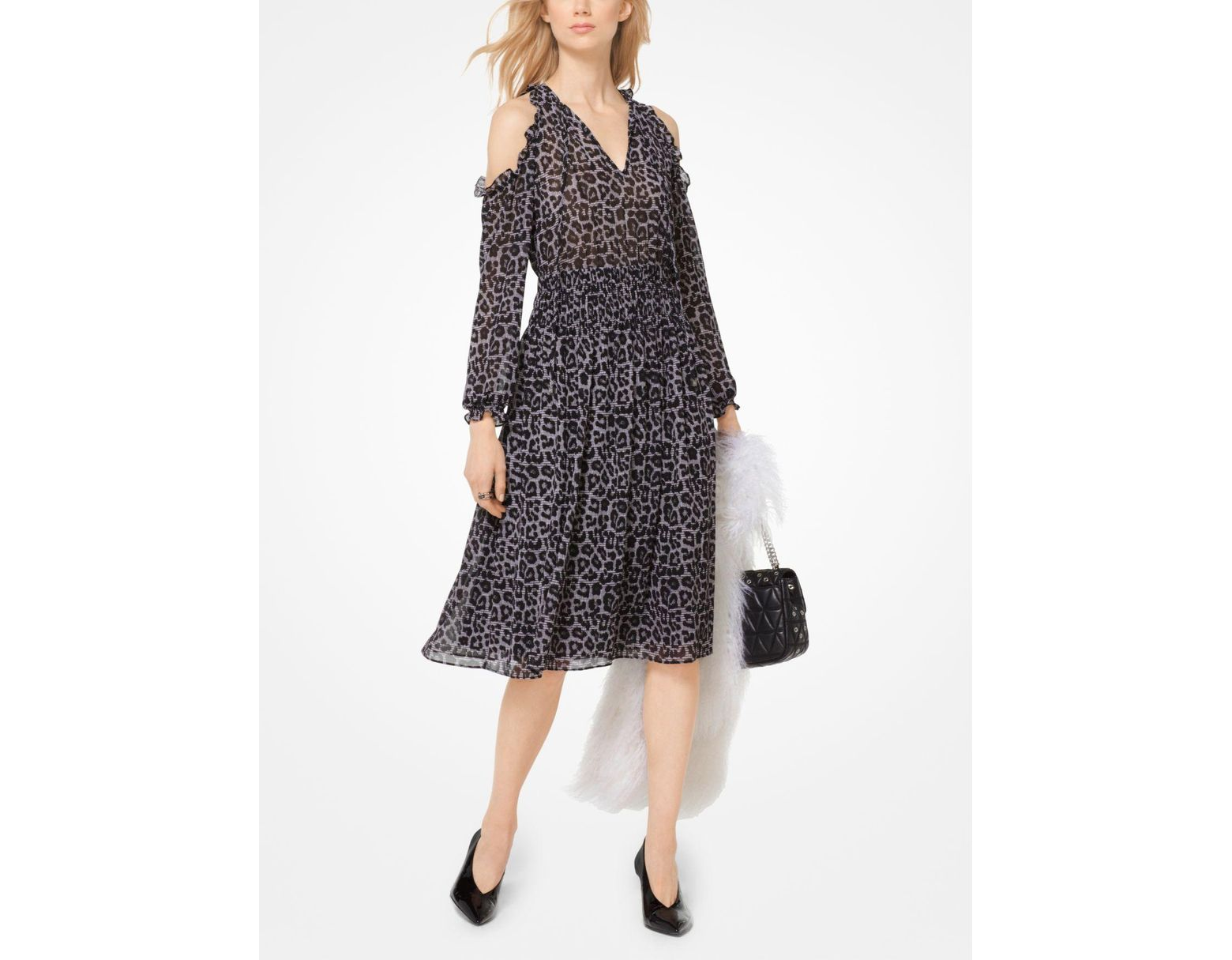 72b278b53a7d MICHAEL Michael Kors Leopard And Plaid Peekaboo Dress in Black - Lyst