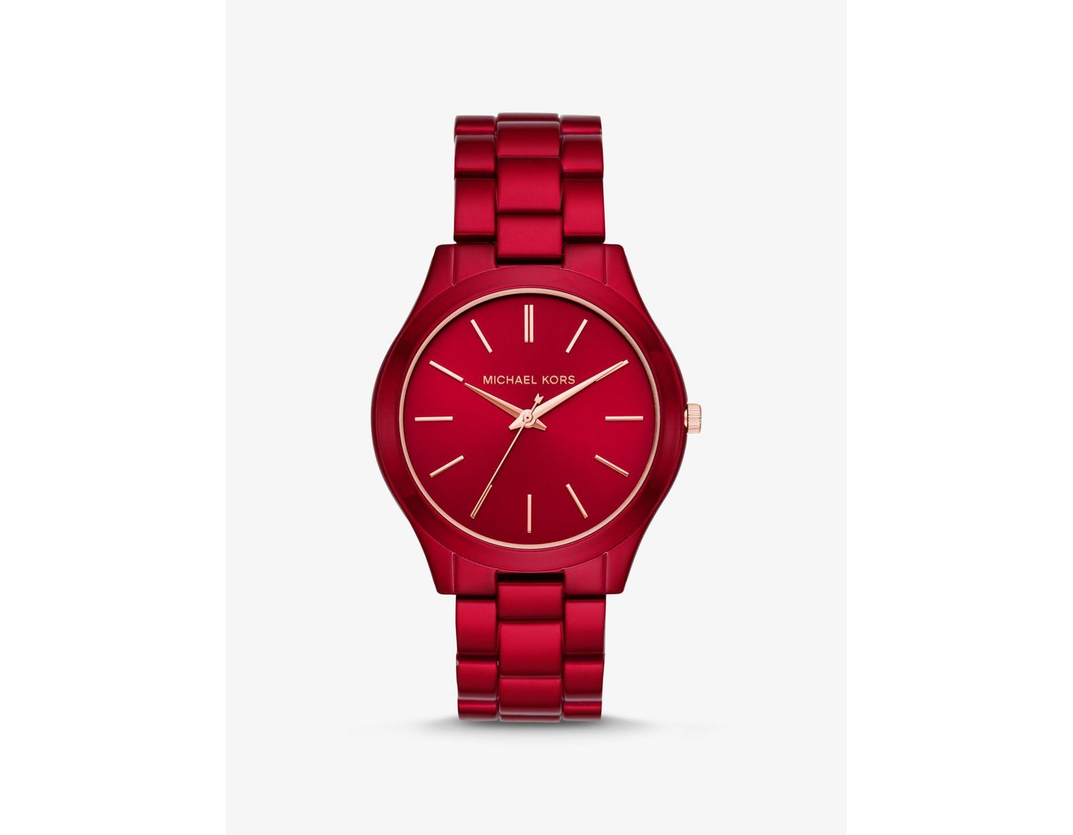 1a2bbd8c5 Michael Kors Women's Slim Runway Three-hand Red-coated Stainless Steel Watch  in Red - Lyst