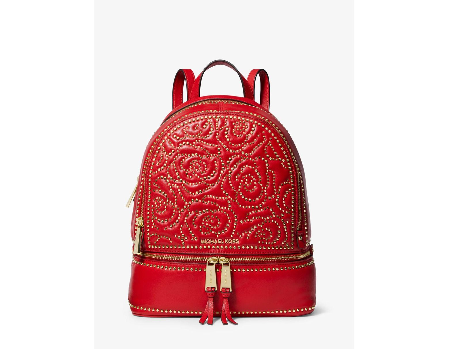3d7ff24af9aa Michael Kors Rhea Medium Rose Studded Leather Backpack in Red - Save 57% -  Lyst