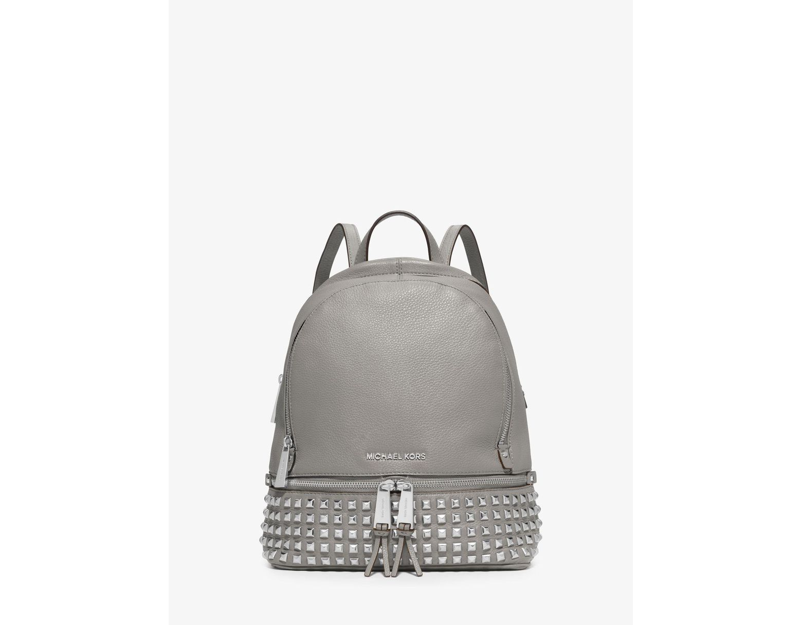 9b6cba1e23be Michael Kors Rhea Medium Studded Pebbled Leather Backpack in White - Lyst