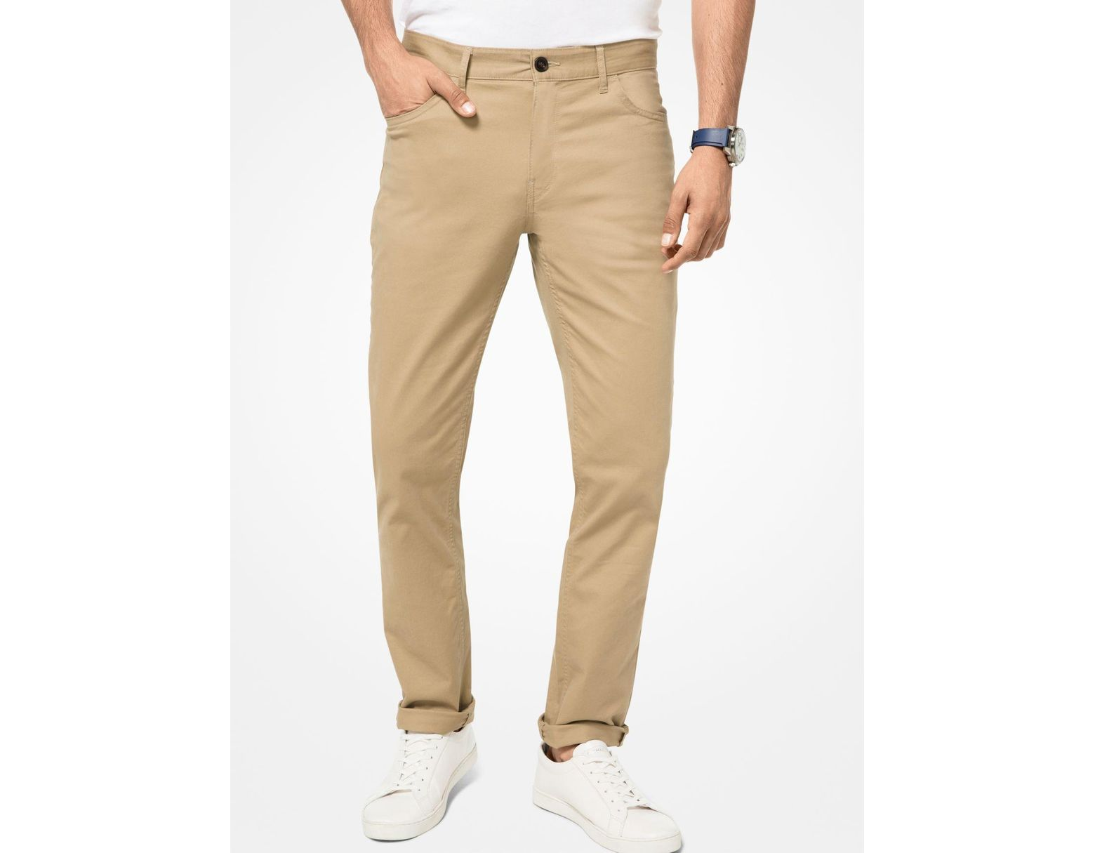 359ca256b088f5 Michael Kors Parker Slim-fit Stretch-twill Pants in Natural for Men - Lyst