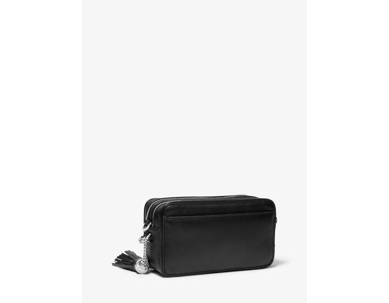 15f3ec18b Michael Kors Small Striped Leather Camera Crossbody in Black - Save 39% -  Lyst