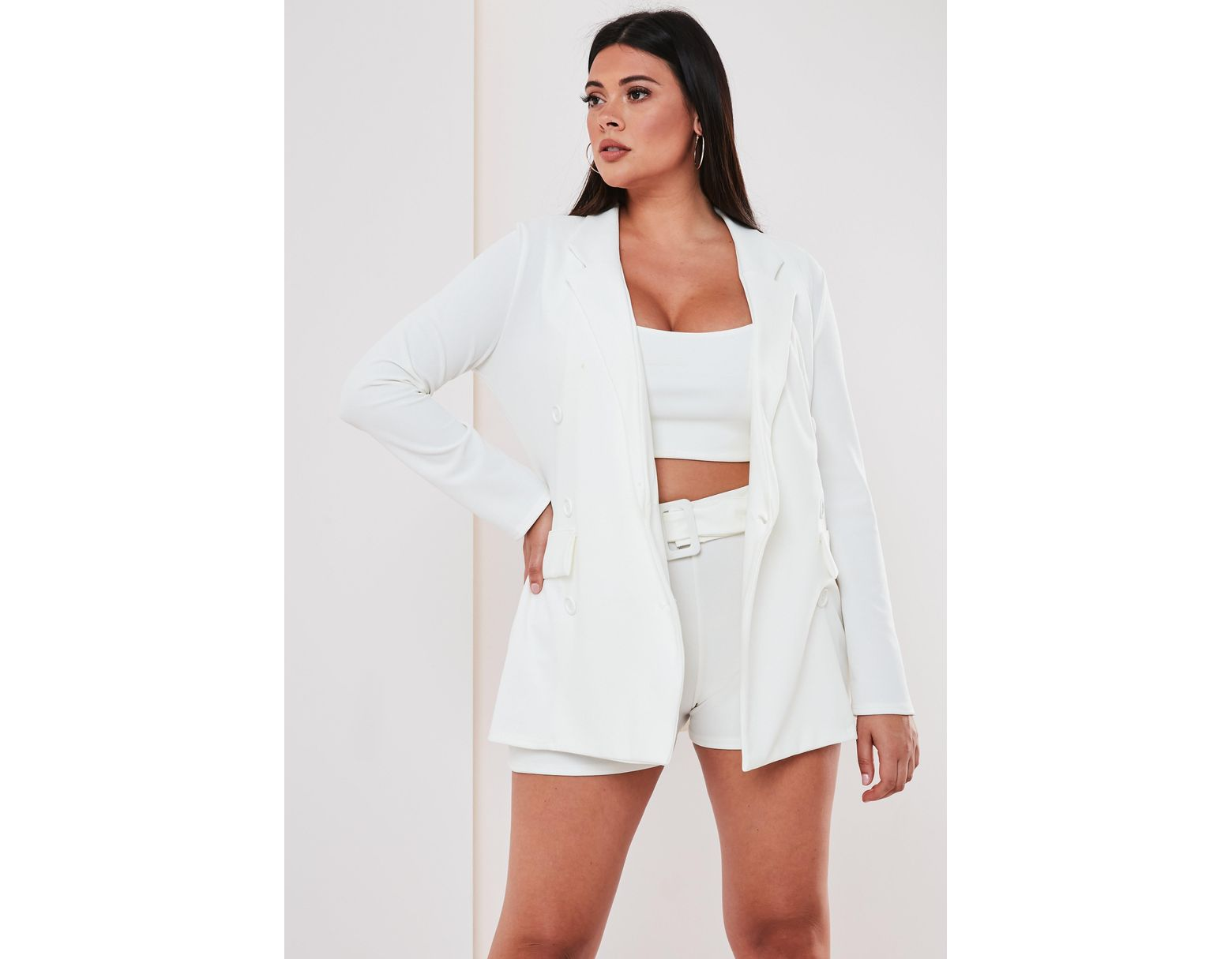 24c83f31 Missguided Plus Size White Co Ord Double Breasted Blazer in White - Lyst