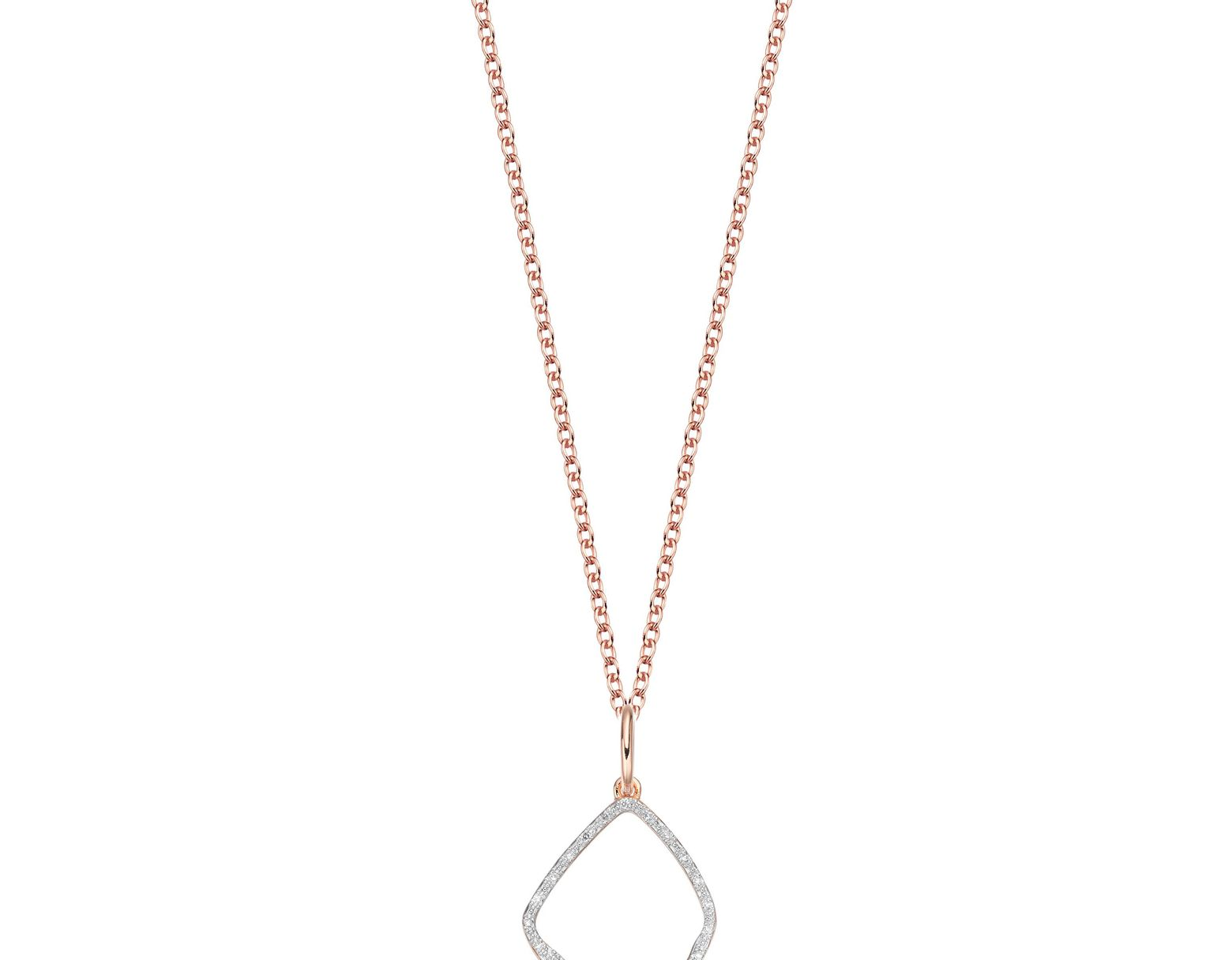 4cab1e3ef1d3cc Monica Vinader Riva Hoop Diamond Pendant Charm in Pink - Lyst