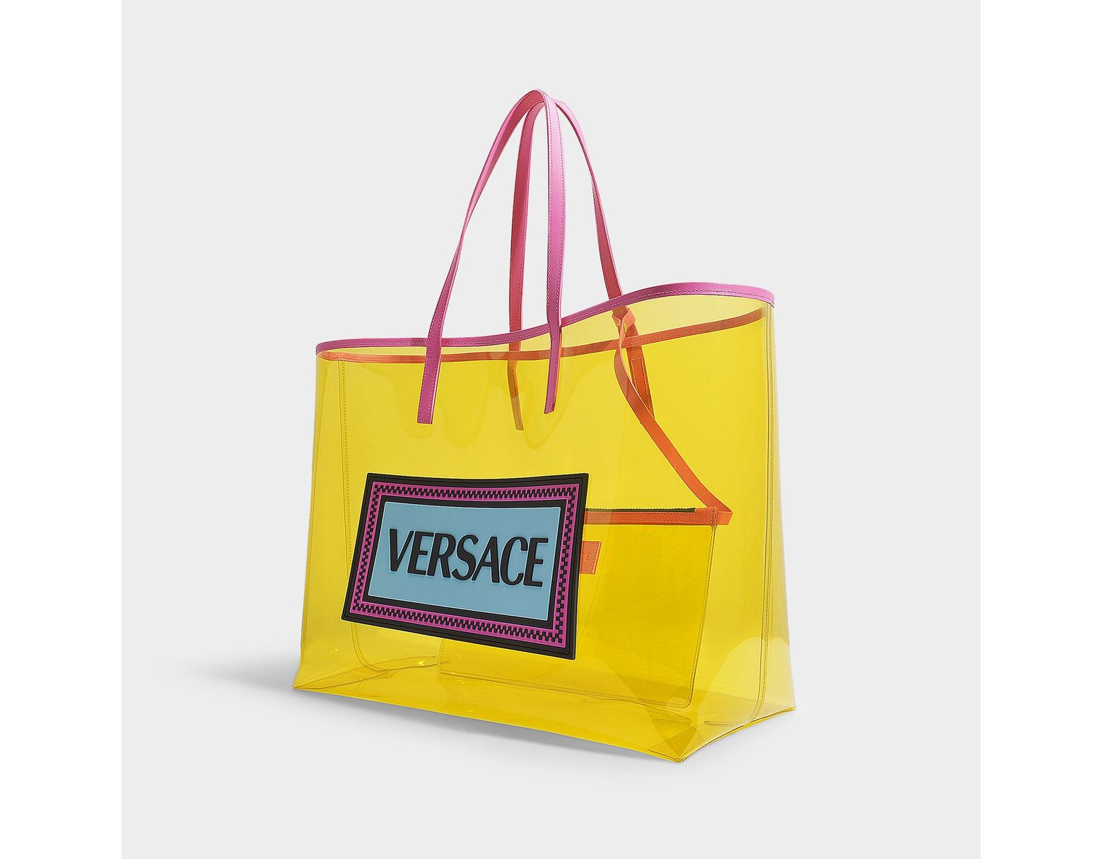 cfefc866538 Versace 90's Vintage Logo Soft Tote In Yellow Clear Vinyl in Yellow - Save  52% - Lyst