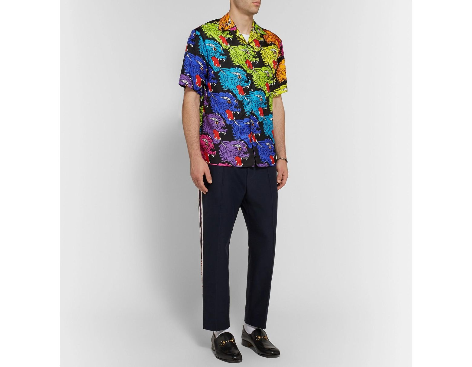 daf534796 Gucci Camp-collar Printed Silk-twill Shirt in Green for Men - Lyst