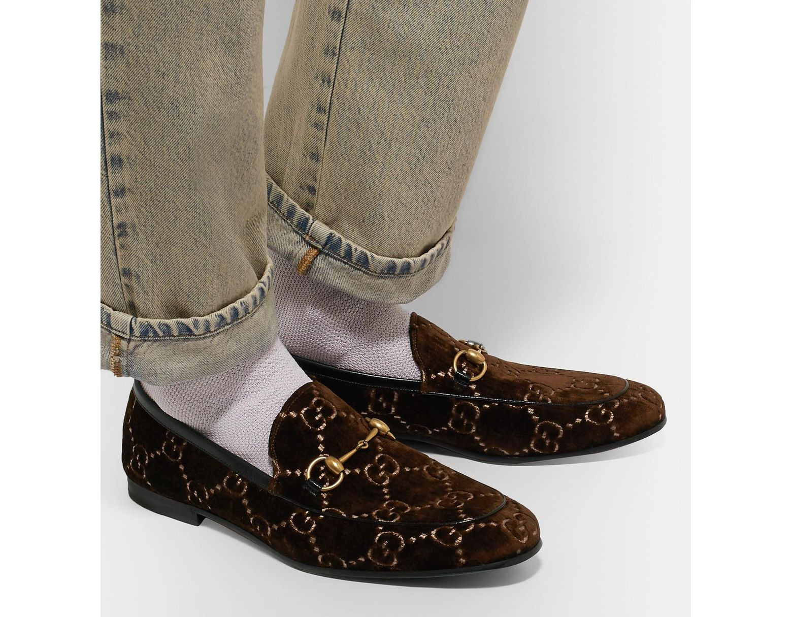 28780e8e2 Gucci Brown GG Jordan Velvet Loafers in Brown for Men - Save 35% - Lyst