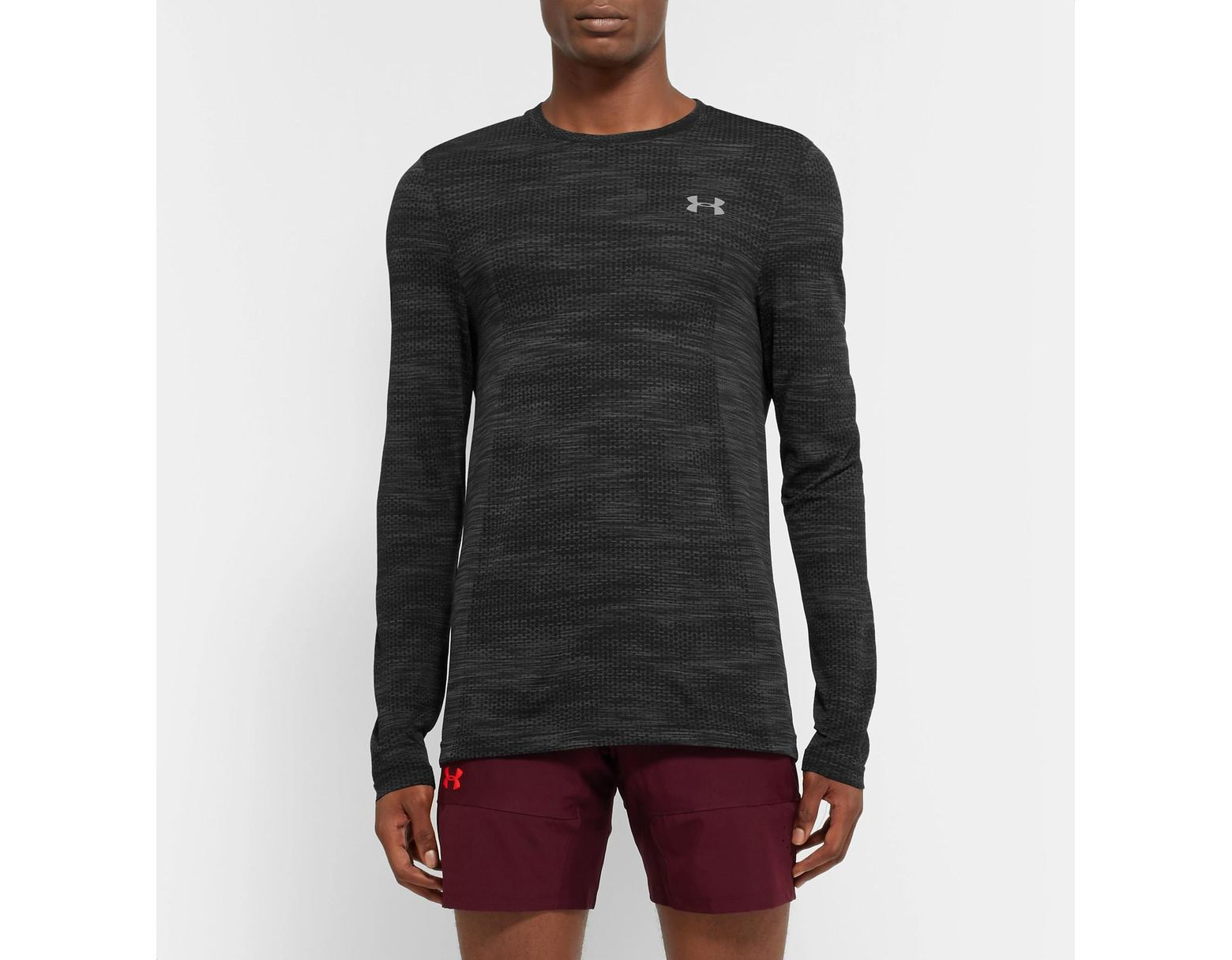 b5c0025679 Under Armour Vanish Seamless Mélange Camouflage-print Heatgear T-shirt in  Black for Men - Lyst