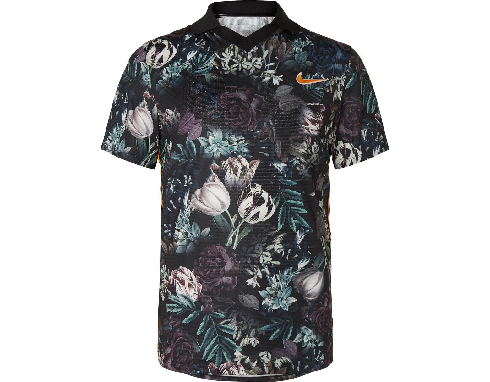 b58cd428187 Men's Black Nikecourt Slam Striped Floral-print Dri-fit Tennis Polo Shirt