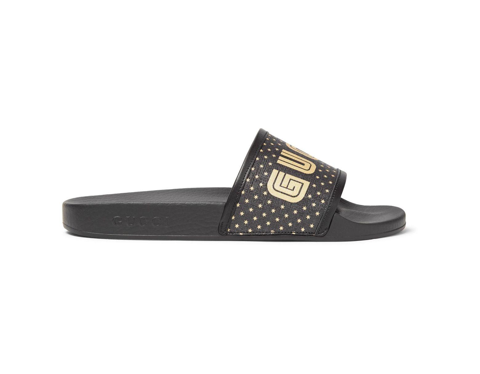 5fdad733f13d Gucci Leather-trimmed Logo-print Rubber Slides in Black for Men - Lyst
