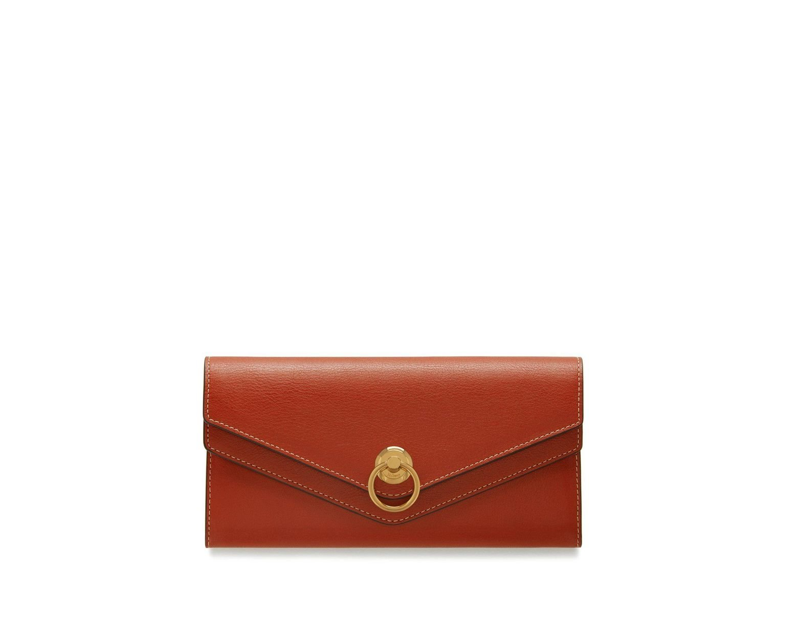 Mulberry Leather Harlow Long Wallet In Rust Silky Calf in