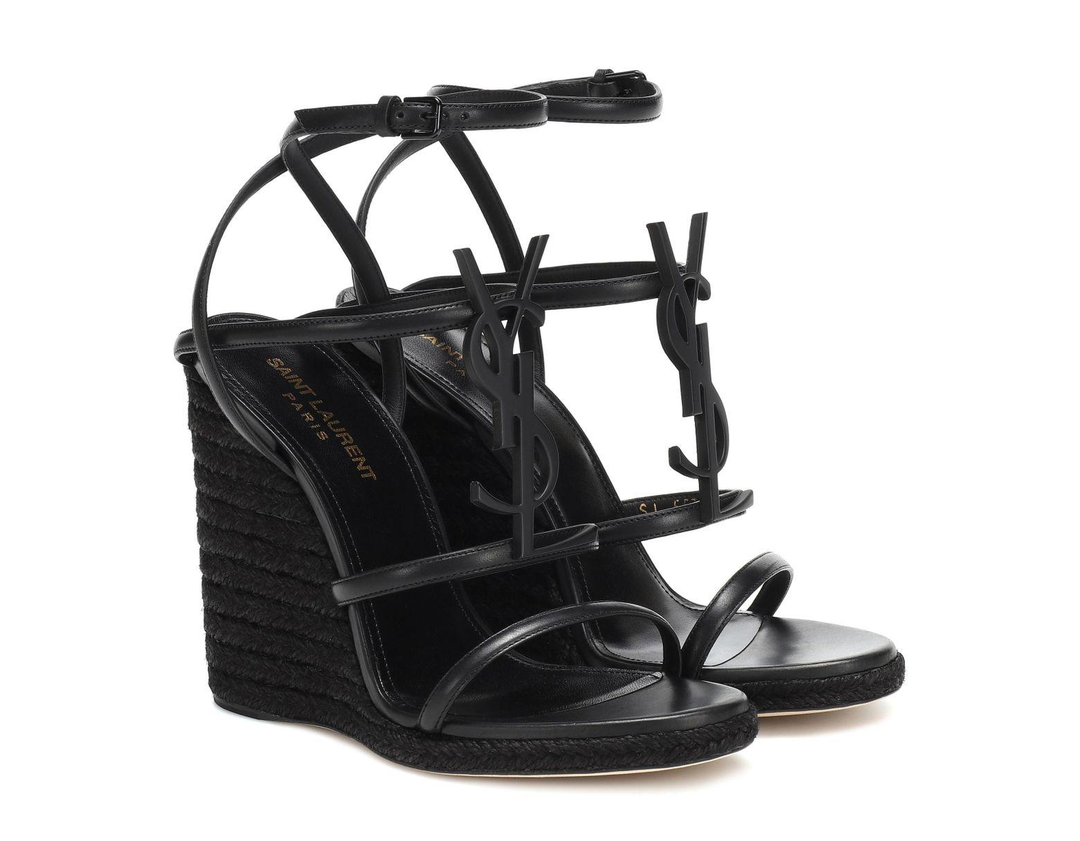 32bdec951f Espadrilles compensées Cassandra en cuir femme de coloris noir