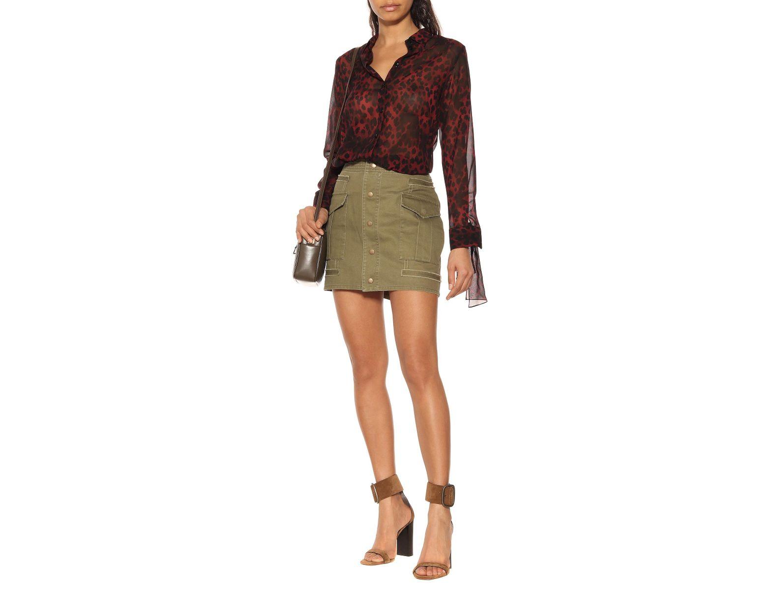 c3db0e2e6 Minifalda de gabardina de algodón de mujer de color verde