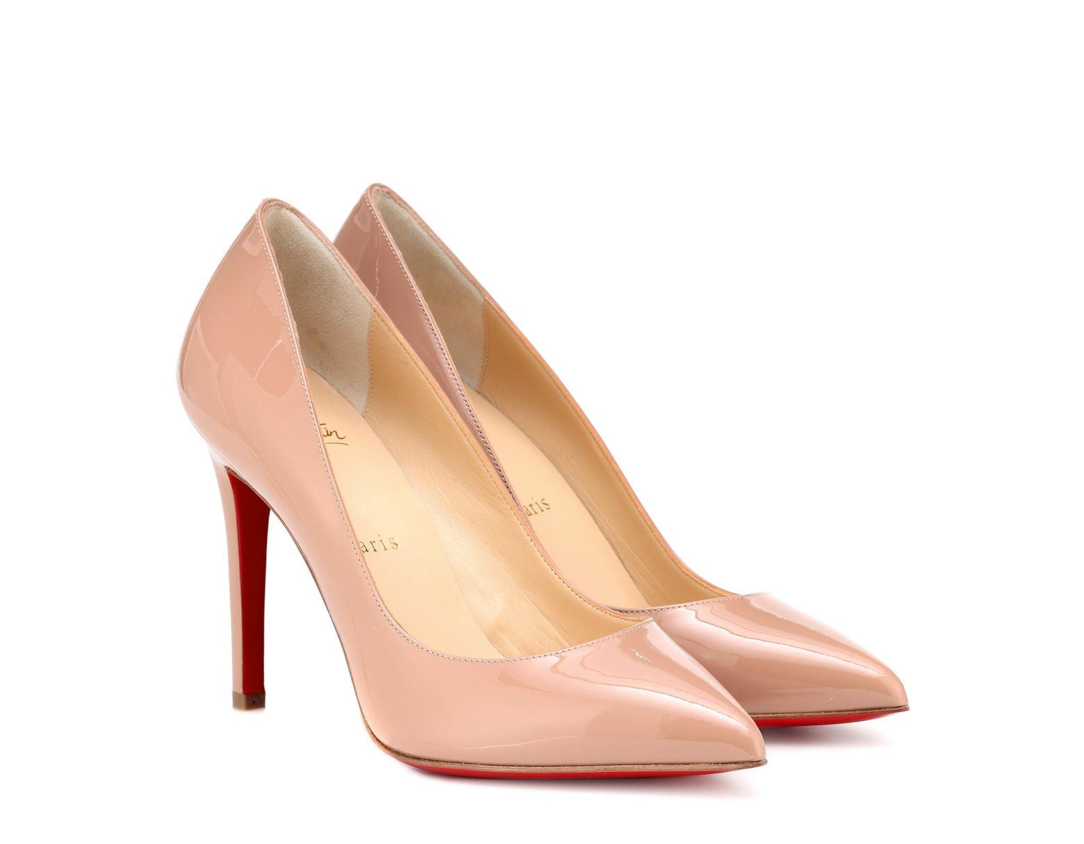 a1c287ec81b Christian Louboutin Pigalle 100 Patent Leather Pumps in Natural - Lyst