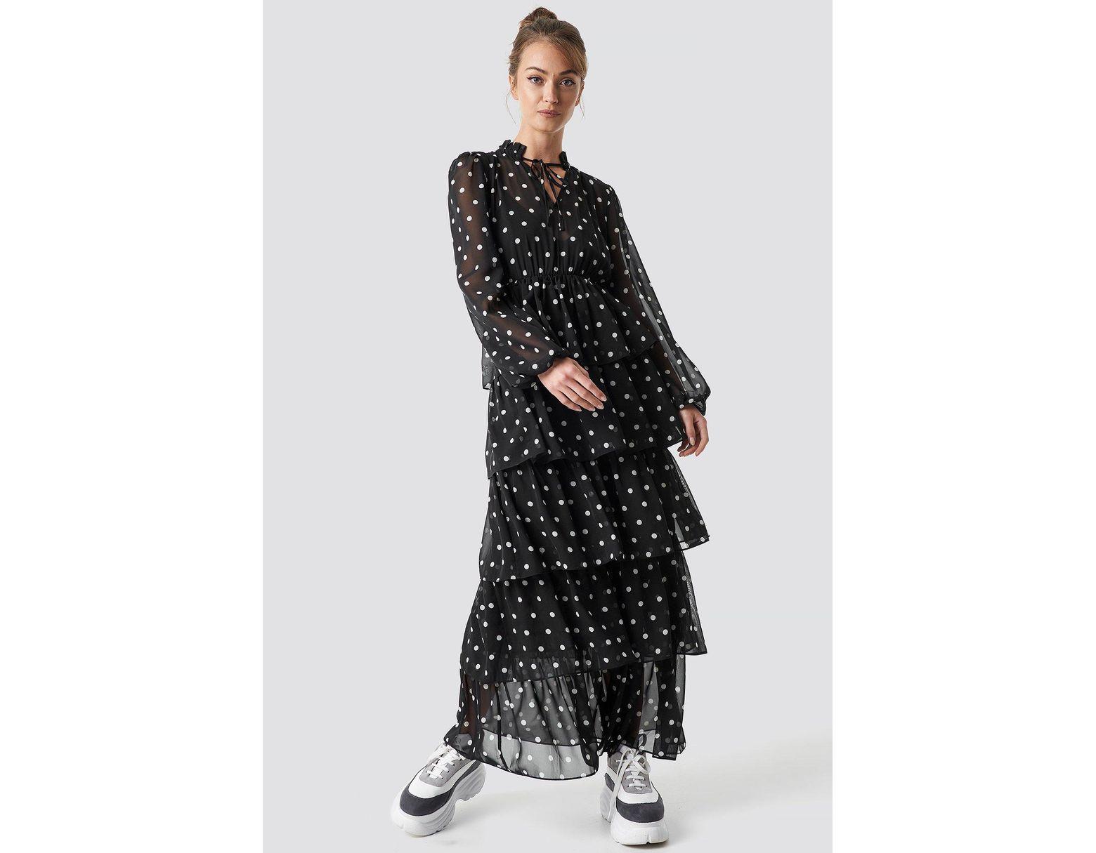 9d7105da54 NA-KD Dotted Frilled Maxi Dress Black in Black - Lyst