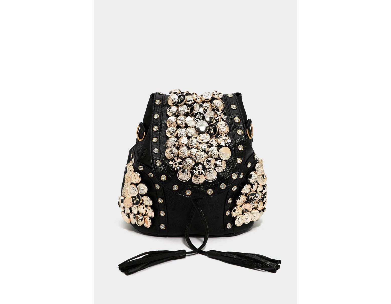 ec0711f3c Women's Black Want Button Another Level Embellished Backpack
