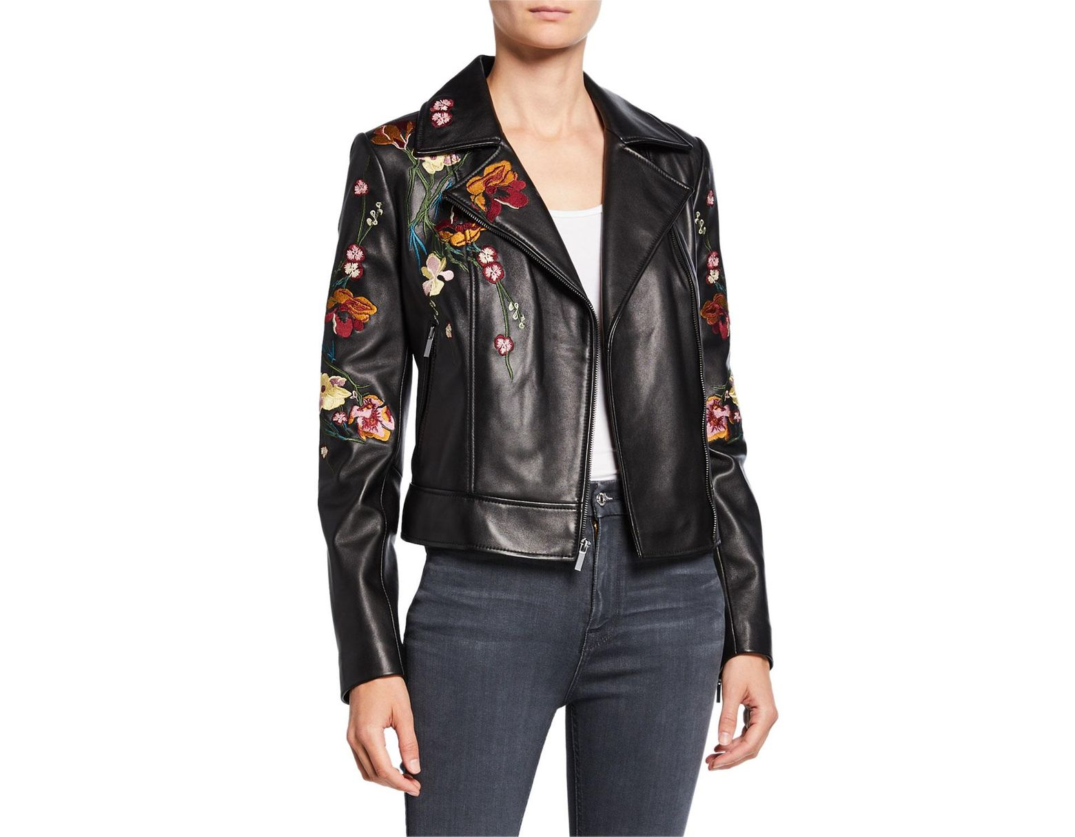 16f250ead Women's Black Floral Embroidered Leather Moto Jacket