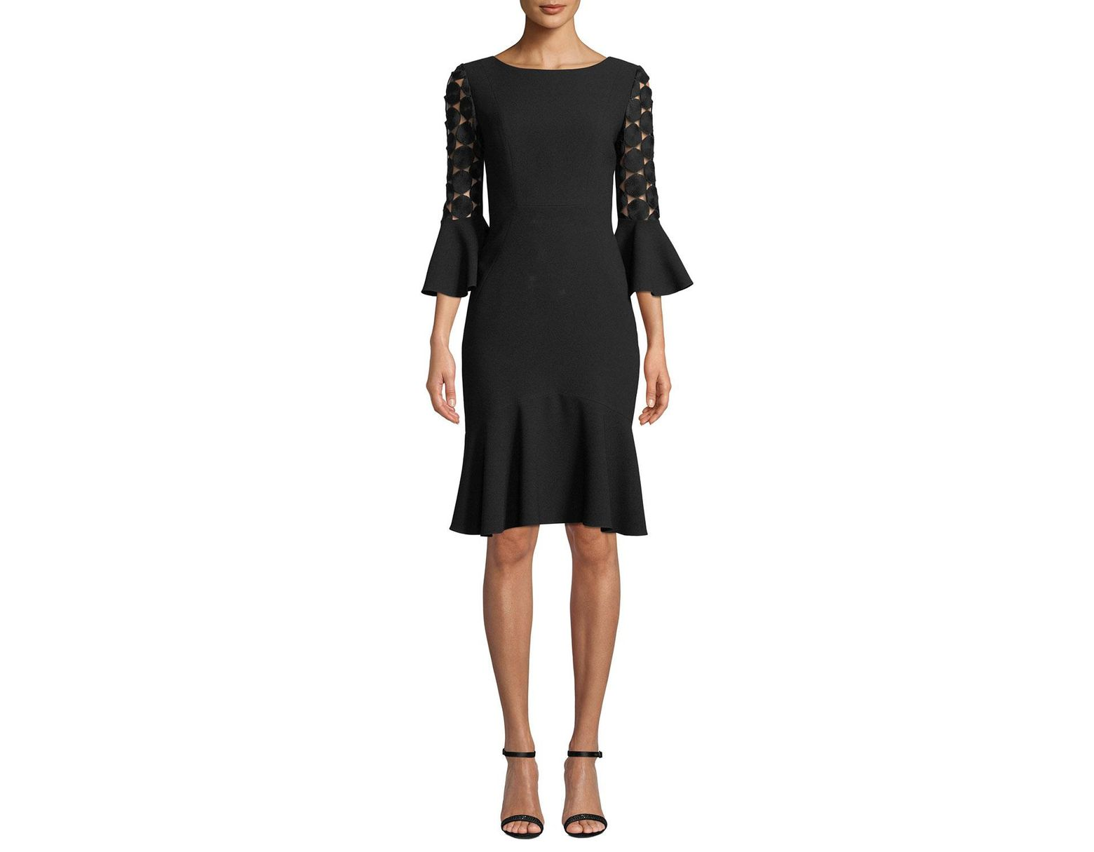 914914fbc541 Elie Tahari Bri Crochet-sleeve Dress in Black - Lyst