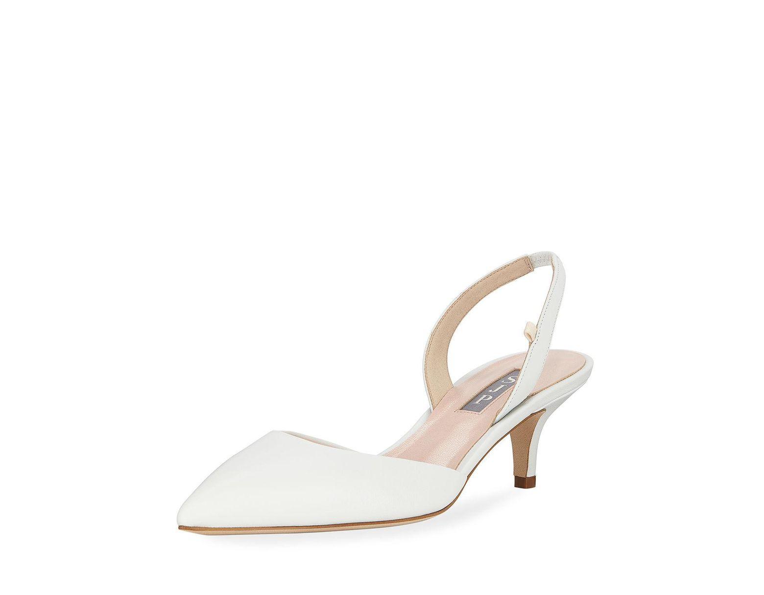 cc97470672 SJP by Sarah Jessica Parker Bliss Metallic Kitten-heel Slingback Pumps in  White - Lyst