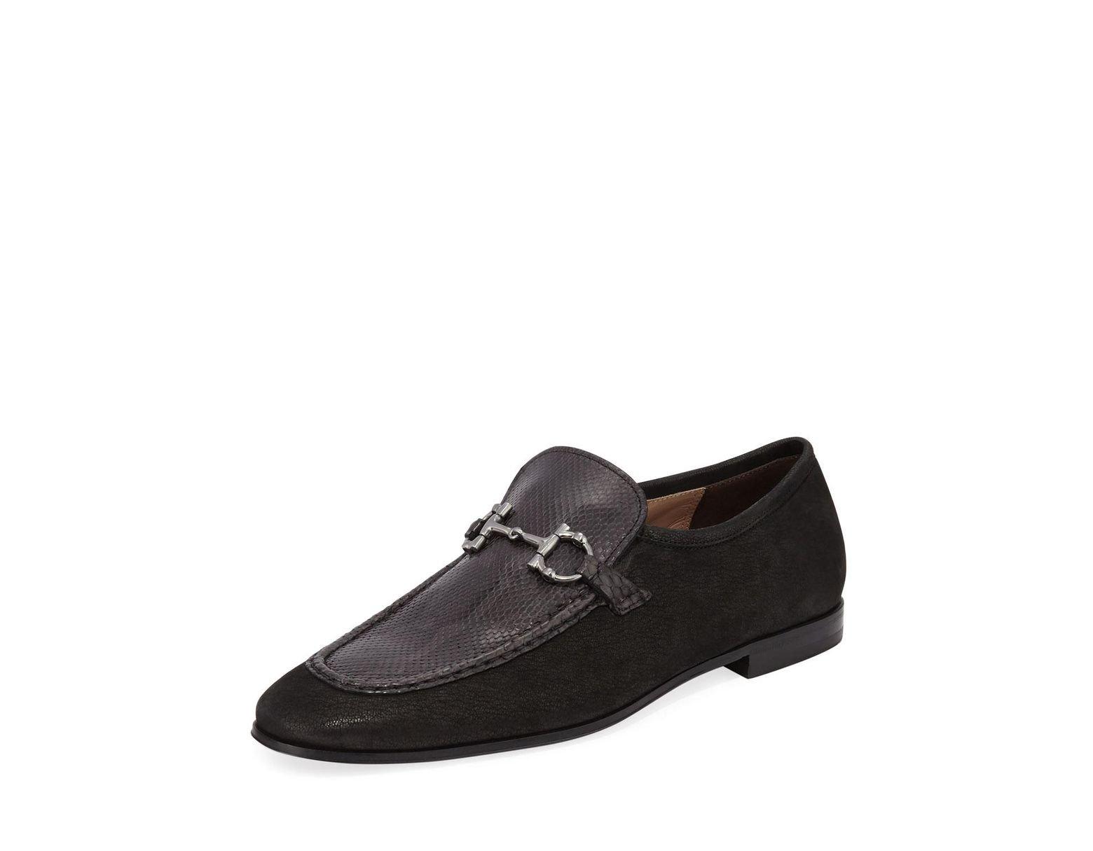 7787f2eda4953 Ferragamo Men's Anderson 2 Leather & Python Bit Loafers in Black for Men -  Lyst
